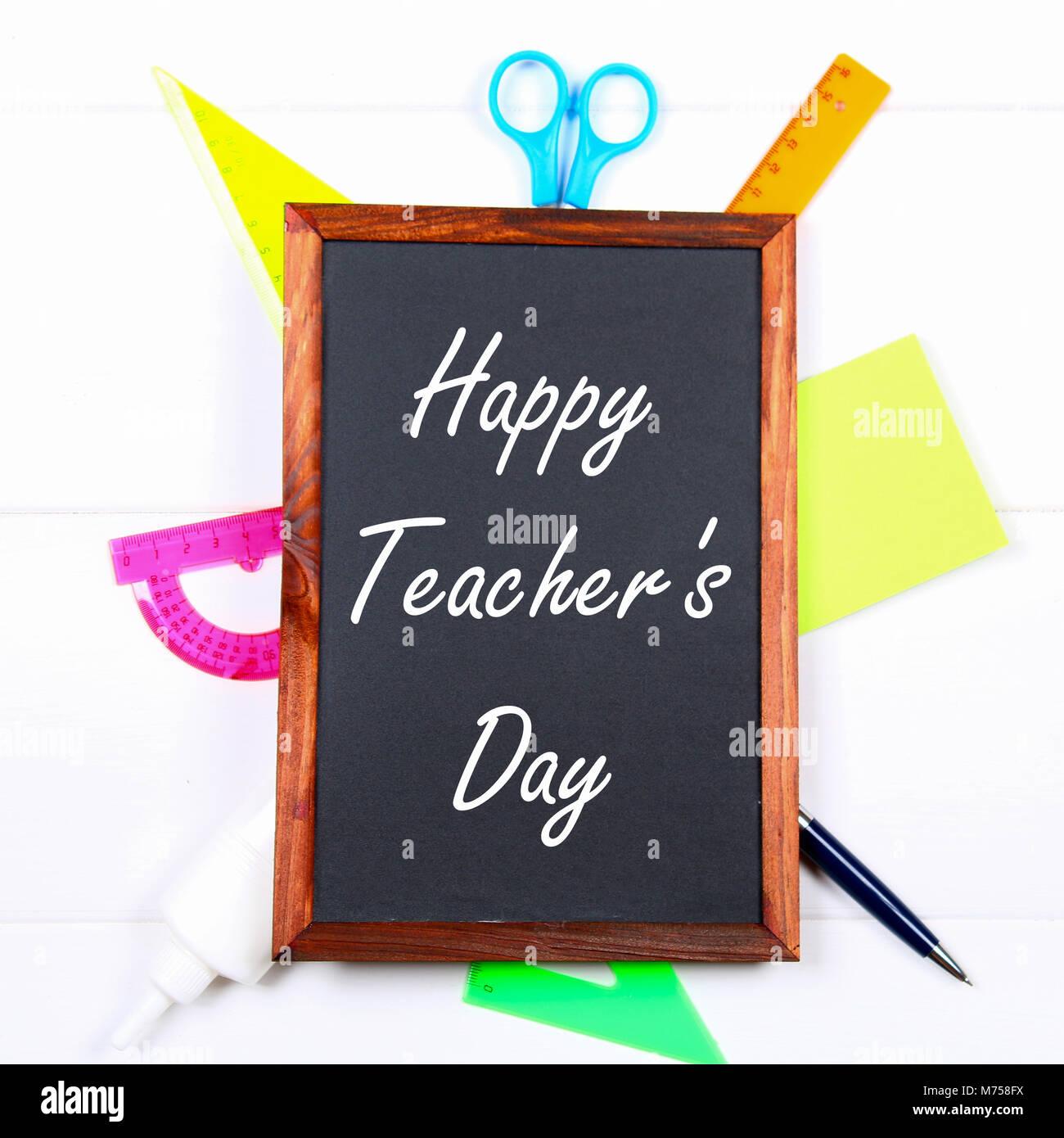 Text Chalk On A Chalkboard: Happy Teacheru0027s Day. School Supplies, Office,  Books, Apple