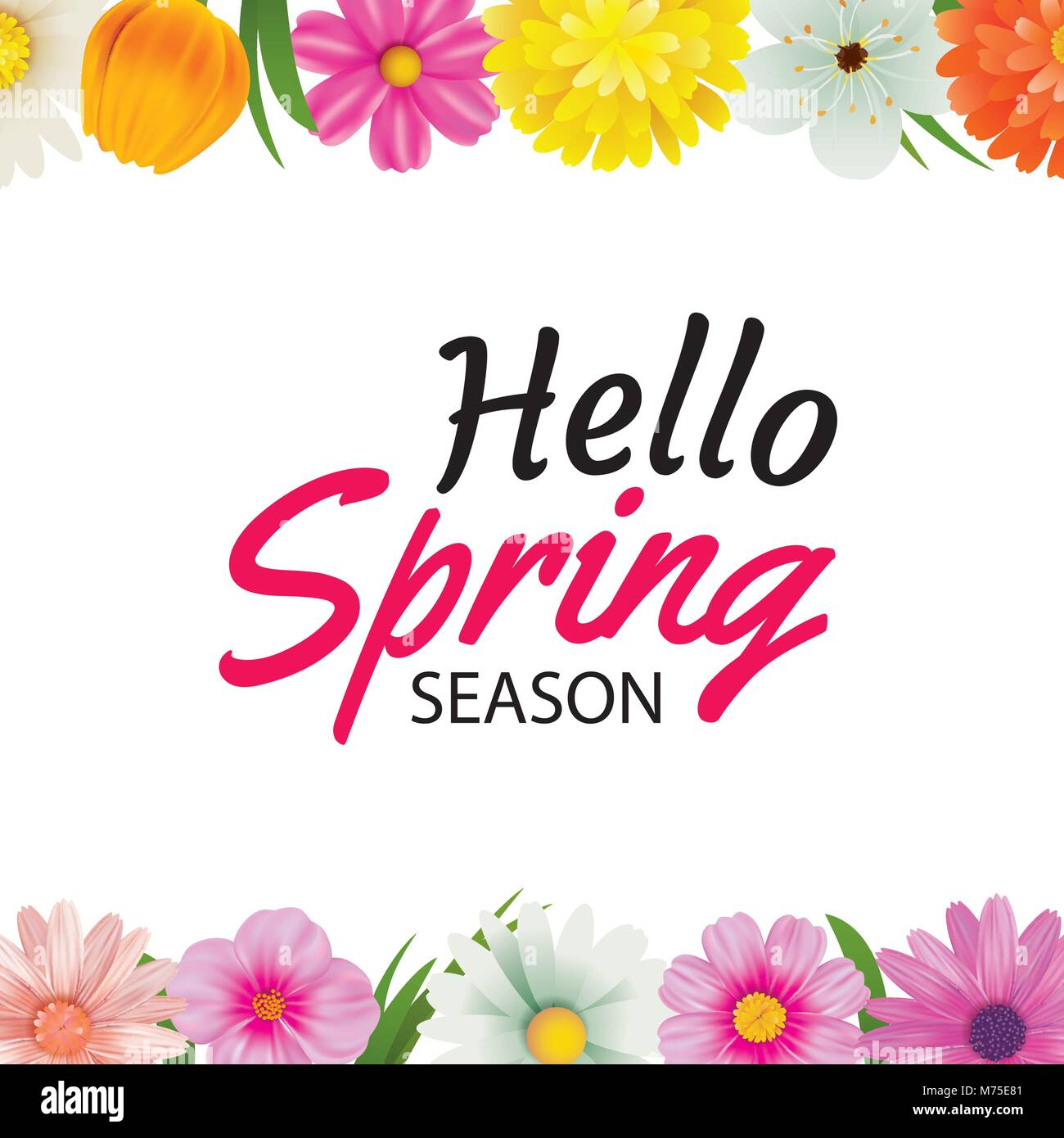 Hello spring season greeting card with colorful flower frame stock hello spring season greeting card with colorful flower frame background template can be use voucher kristyandbryce Choice Image