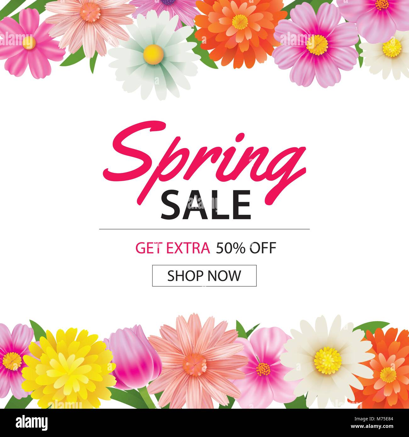 spring sale poster template with colorful flower background can be