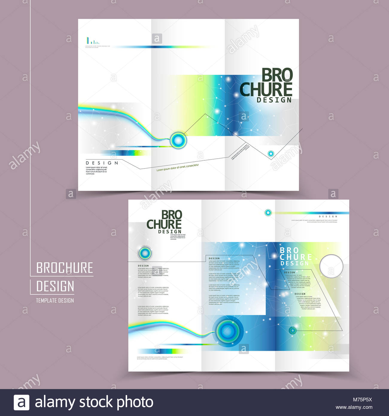 modern tri fold template brochure design in technology style stock
