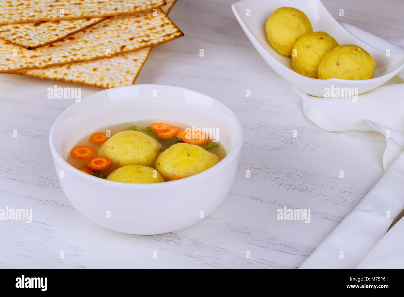 A Traditional Ashkenazi Jewish Soup With Matzo Balls Made From A