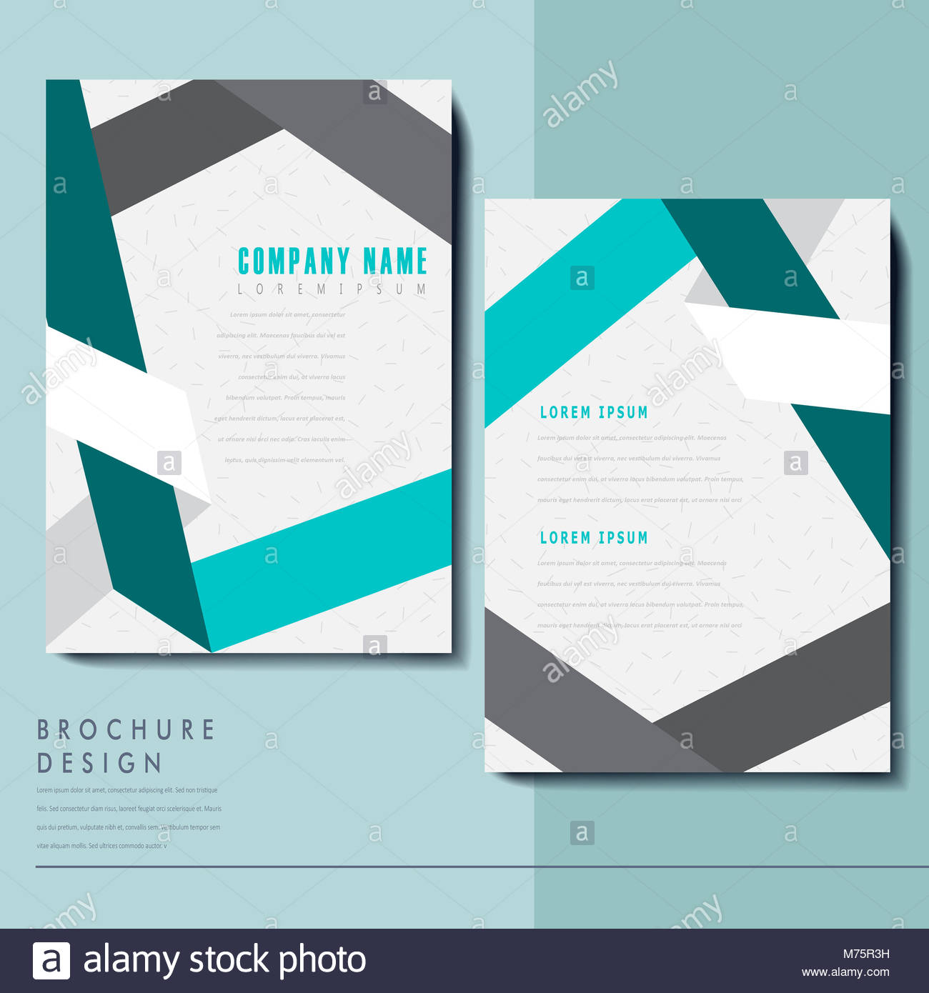 Elegant Brochure Template Design With Paper Folded Elements Stock