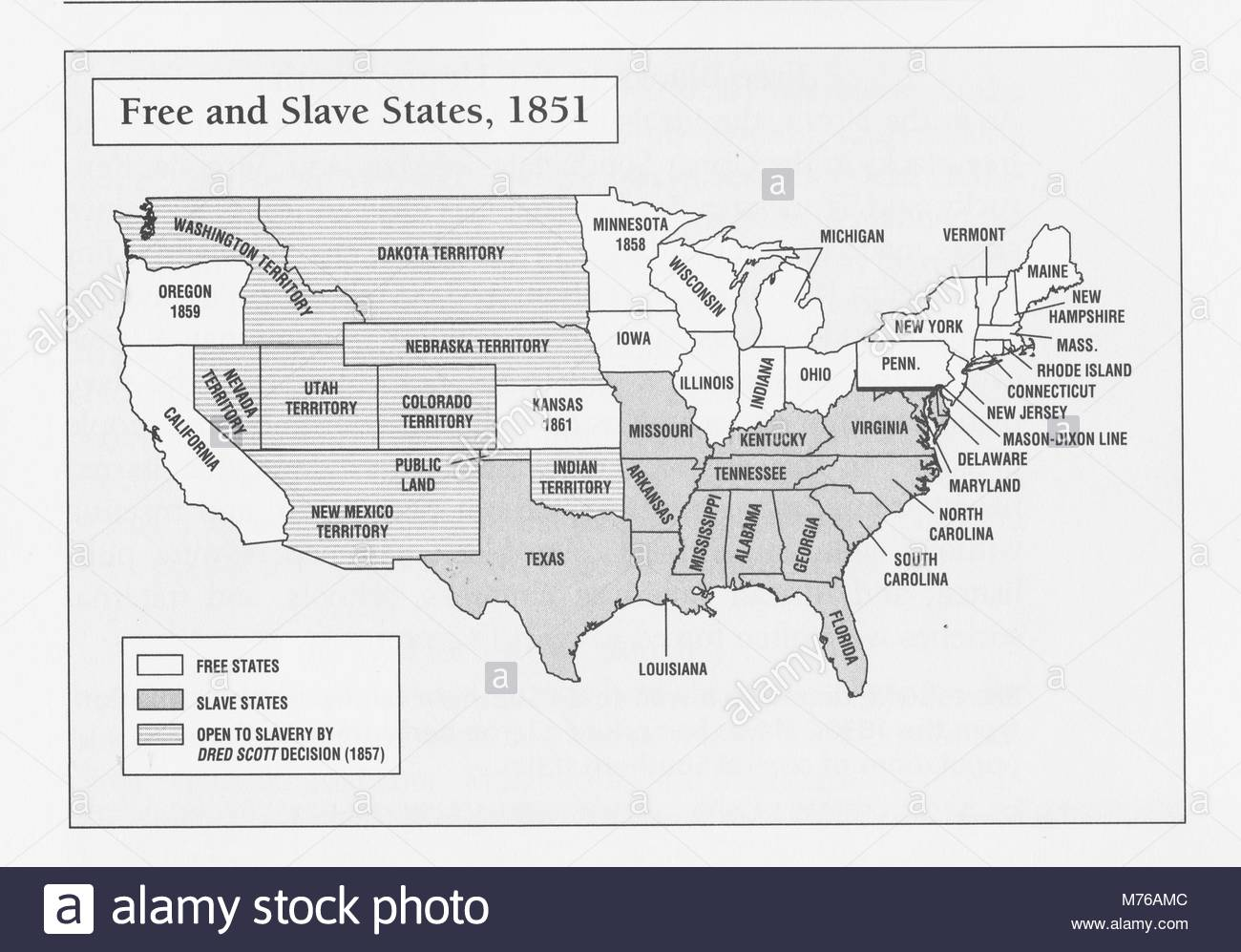 A map of free and slave states in the United States in 1851. By the ...