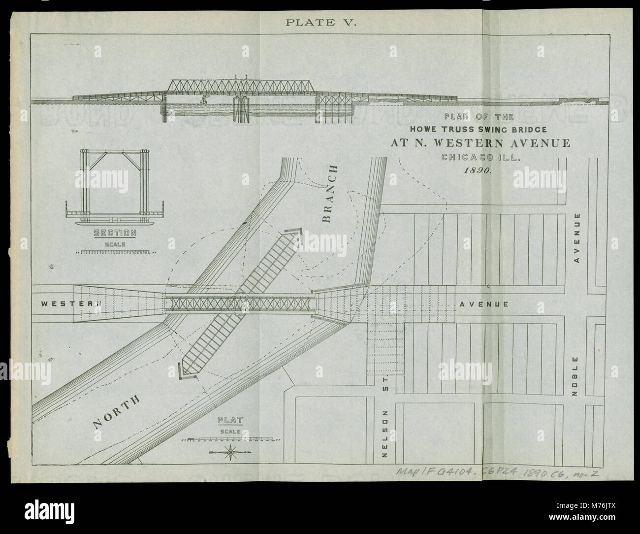 Plan Of The Howe Truss Swing Bridge At N Western Avenue Chicago Diagram Through Ill 1890 Nby 8083