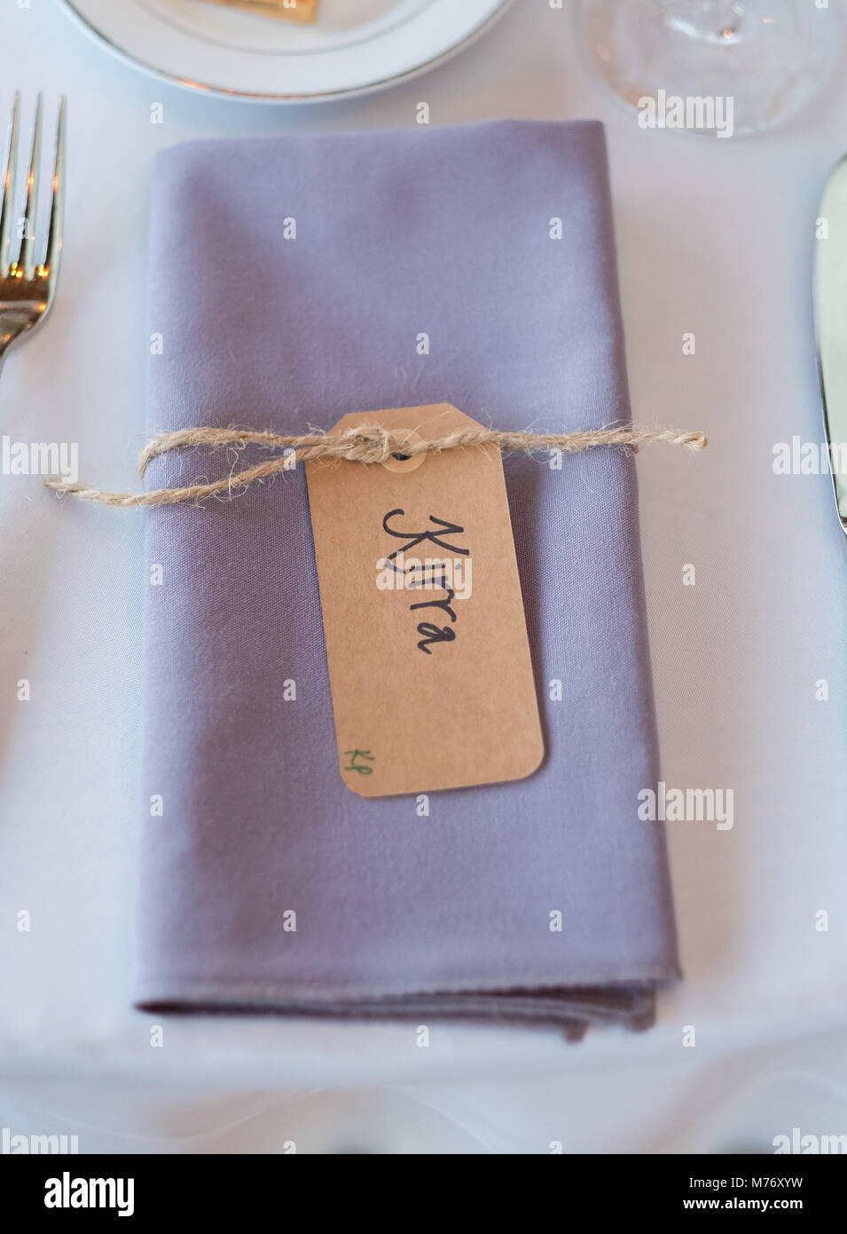 folded napkins with name tags at reception stock photo 176559149