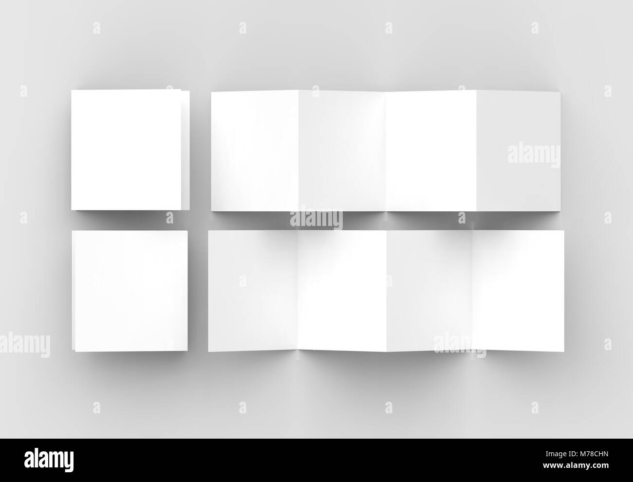 8 page leaflet 4 panel accordion fold square brochure mock up stock