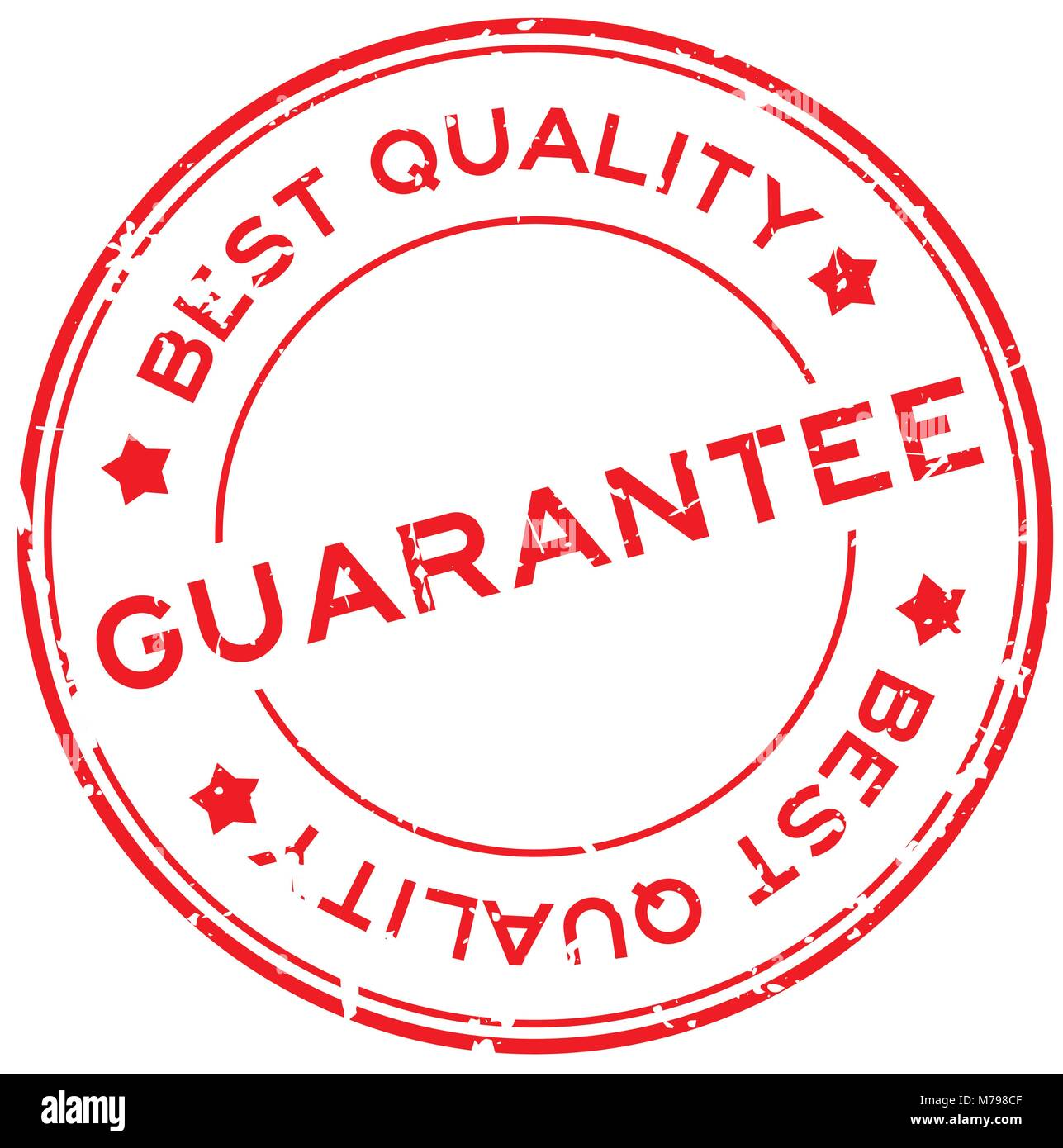 grunge red best quality guarantee round rubber seal stamp on white