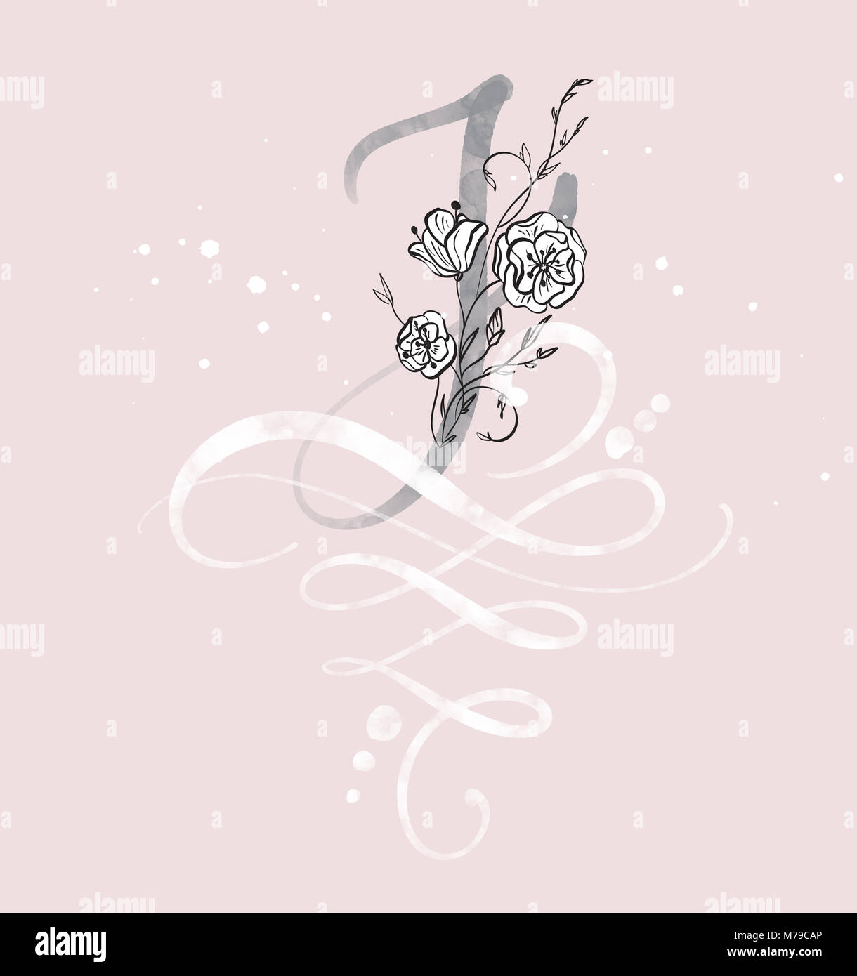 Hand Drawn Calligraphy Letter J With Flower Watercolor Script Font
