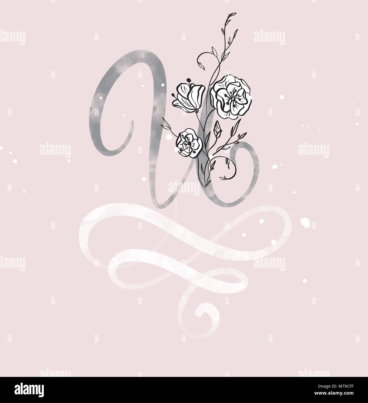 hand drawn calligraphy letter u with flower watercolor script font