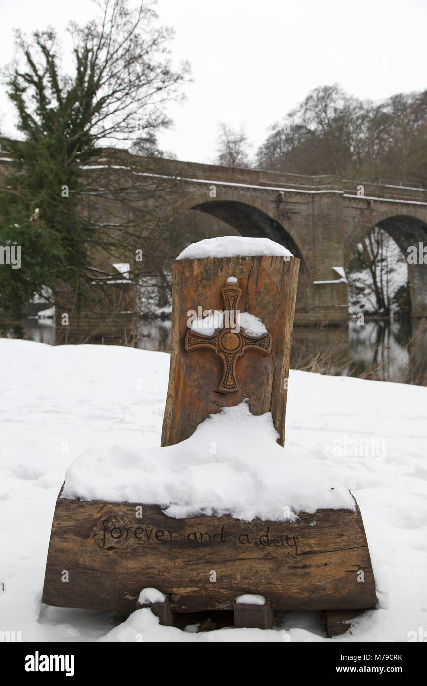 Sculpture In The Snow By Prebends Bridge In Durham City England