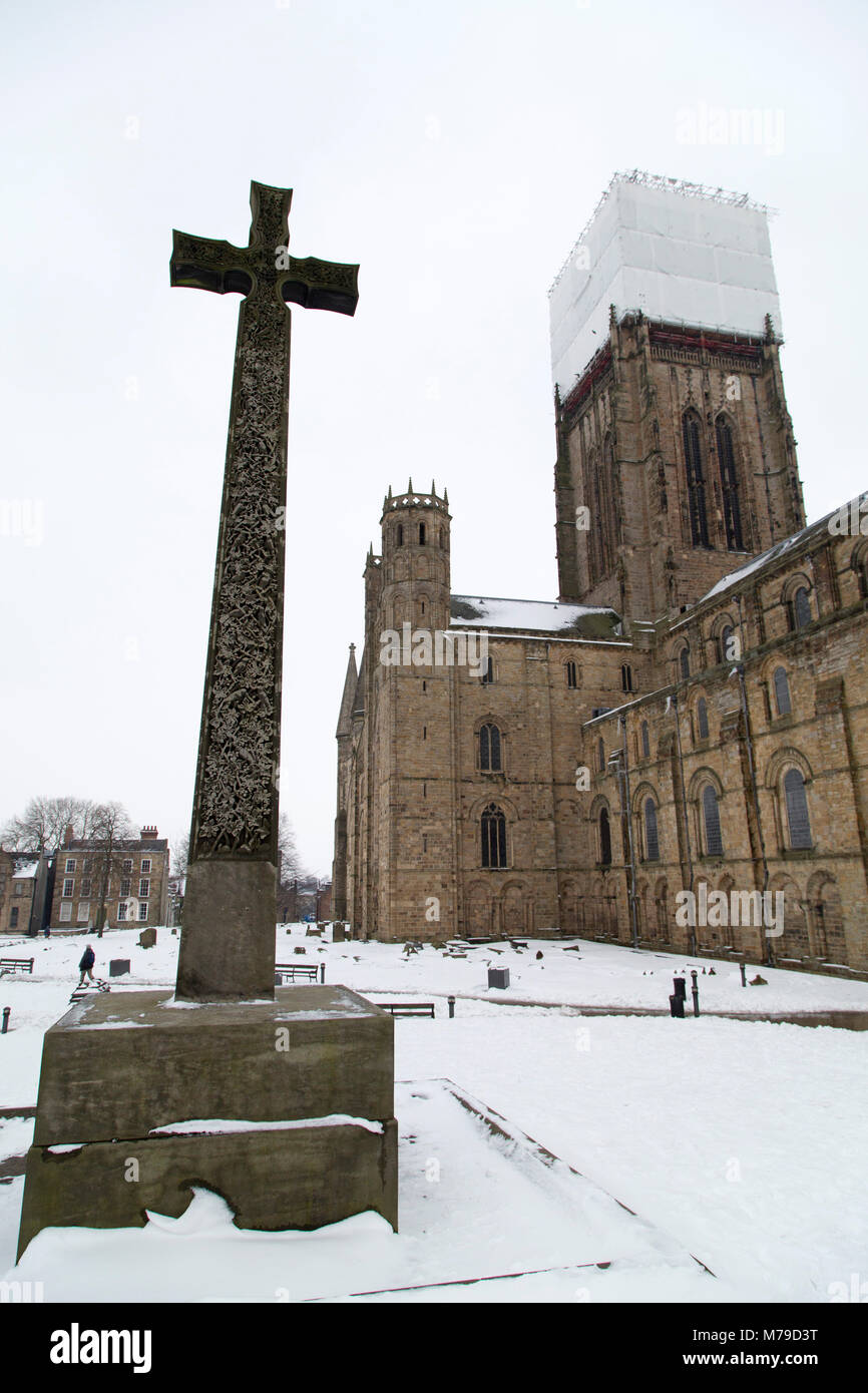 Cross In Snow At Palace Green In Durham City England The Cross Is