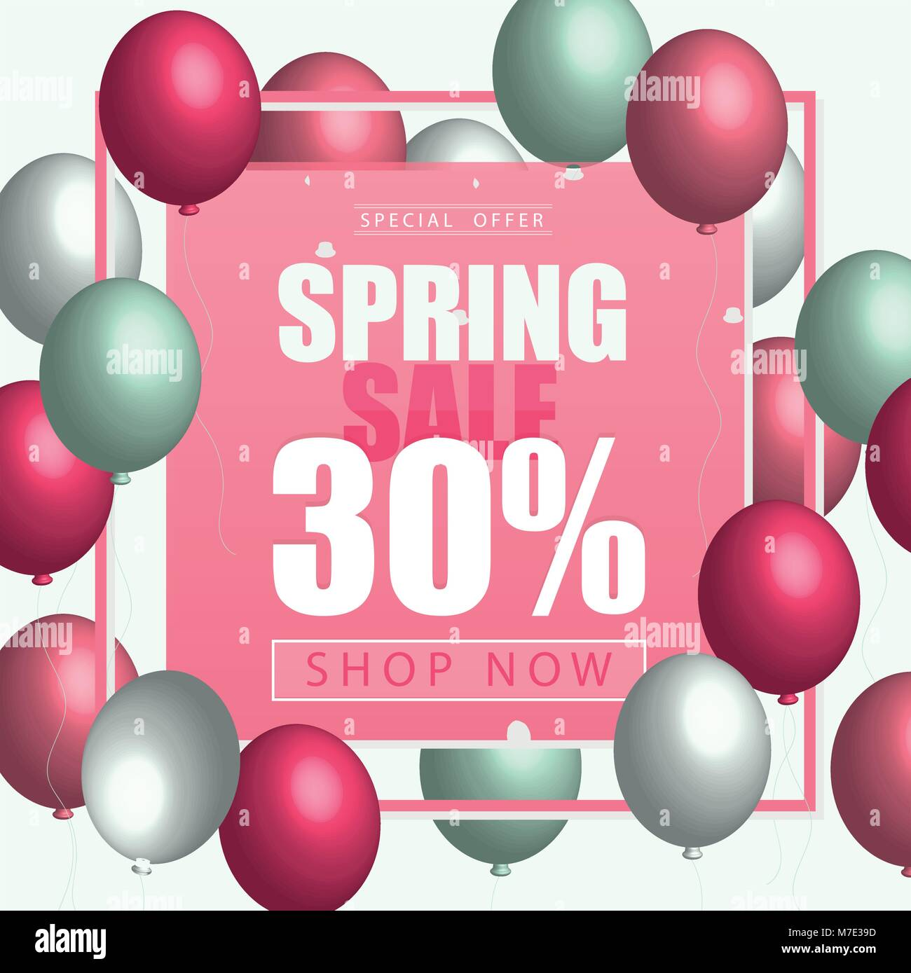 Spring Card Template With Balloons Pink Yellow Color For Flyer Poster Banner