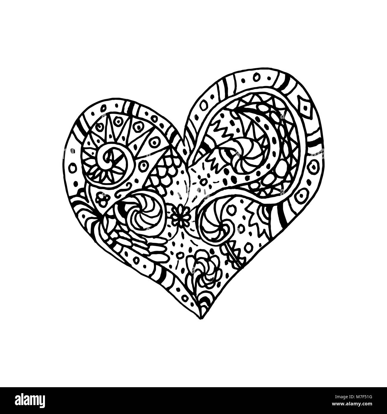 Vector illustration of doodle hand drawn heart. Coloring page book ...