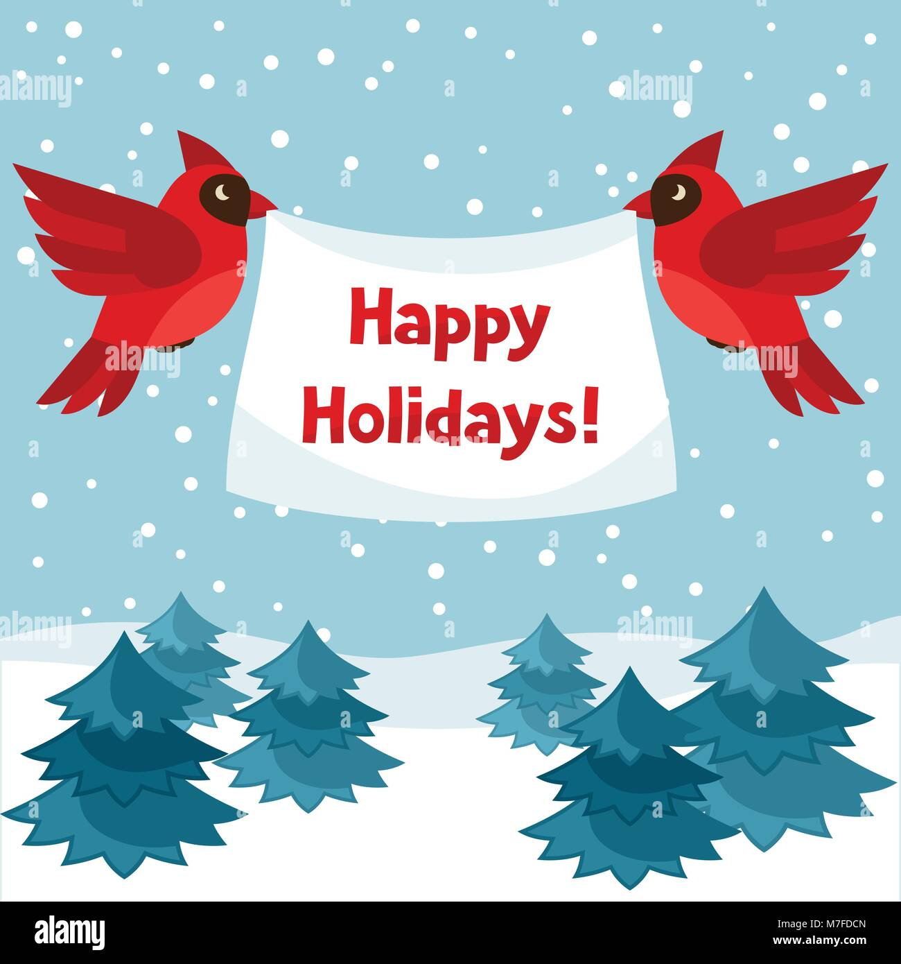 Happy Holidays Greeting Card With Birds Red Cardinal Stock Vector