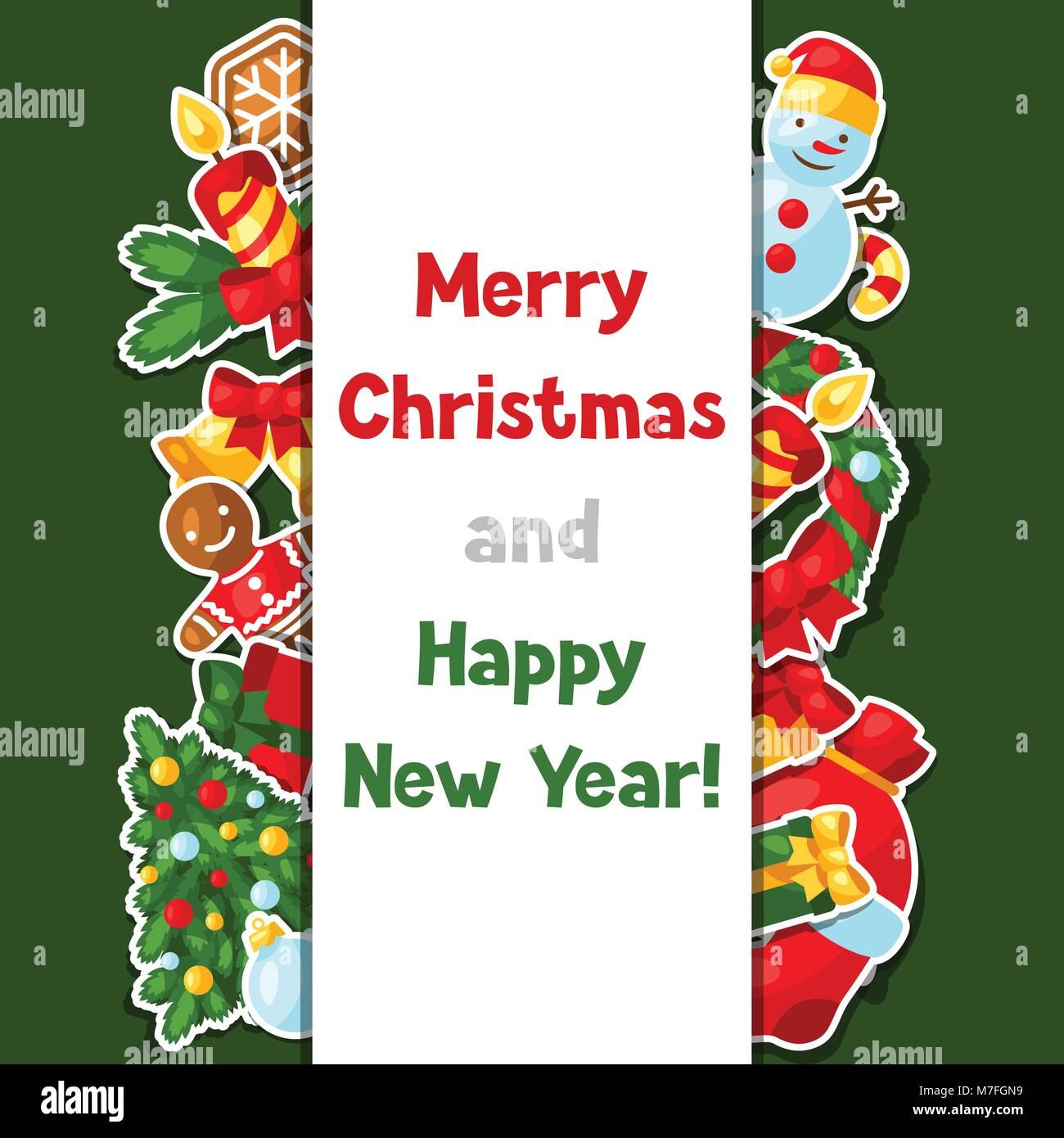 merry christmas and happy new year sticker invitation card