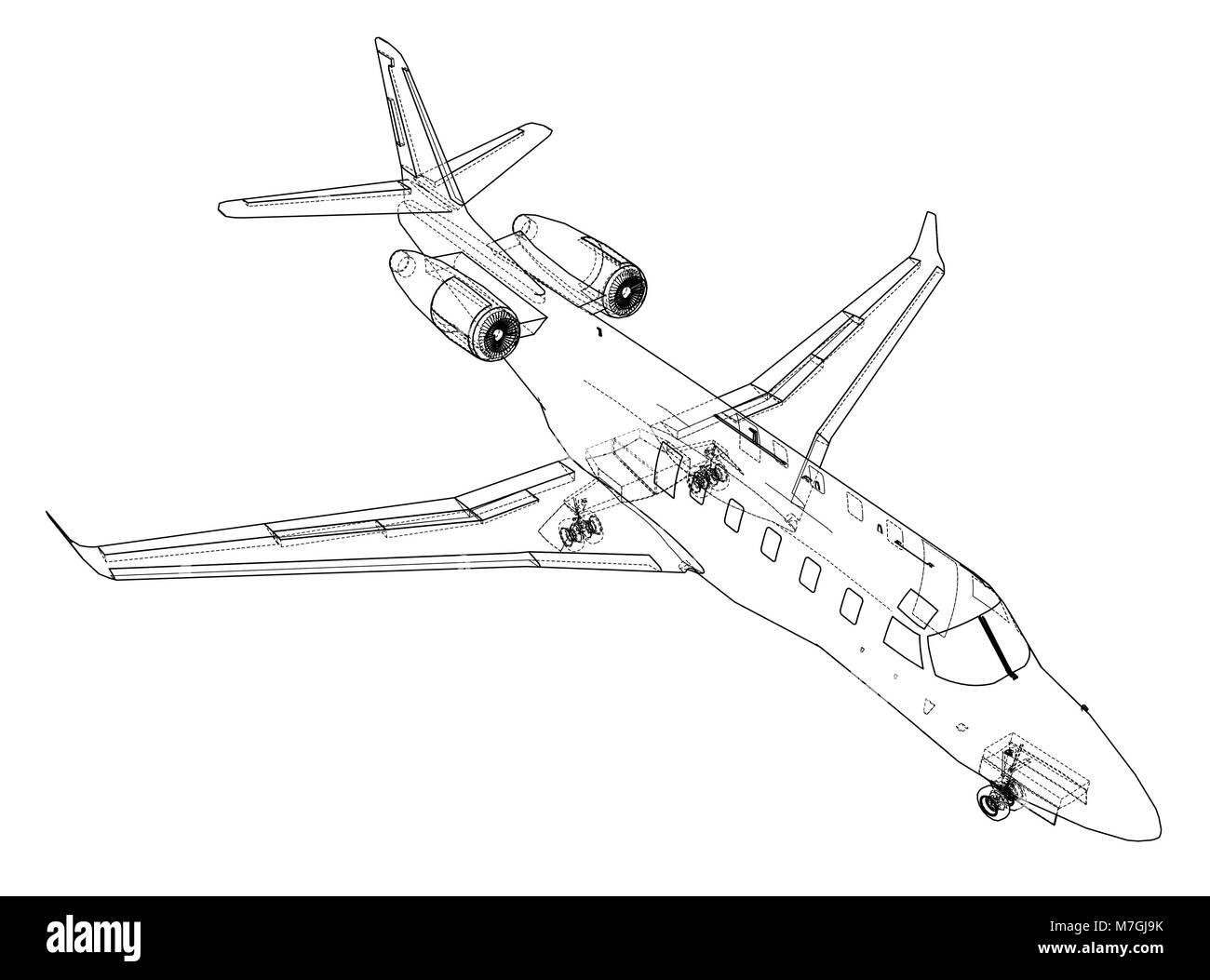 Airplane blueprint vector stock vector art illustration vector airplane blueprint vector malvernweather Image collections