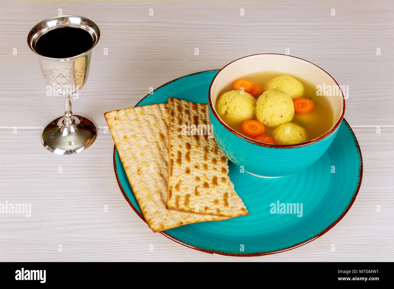 Delicious Matzoh Ball Soup With Matzah Jewish Symbols For The Stock