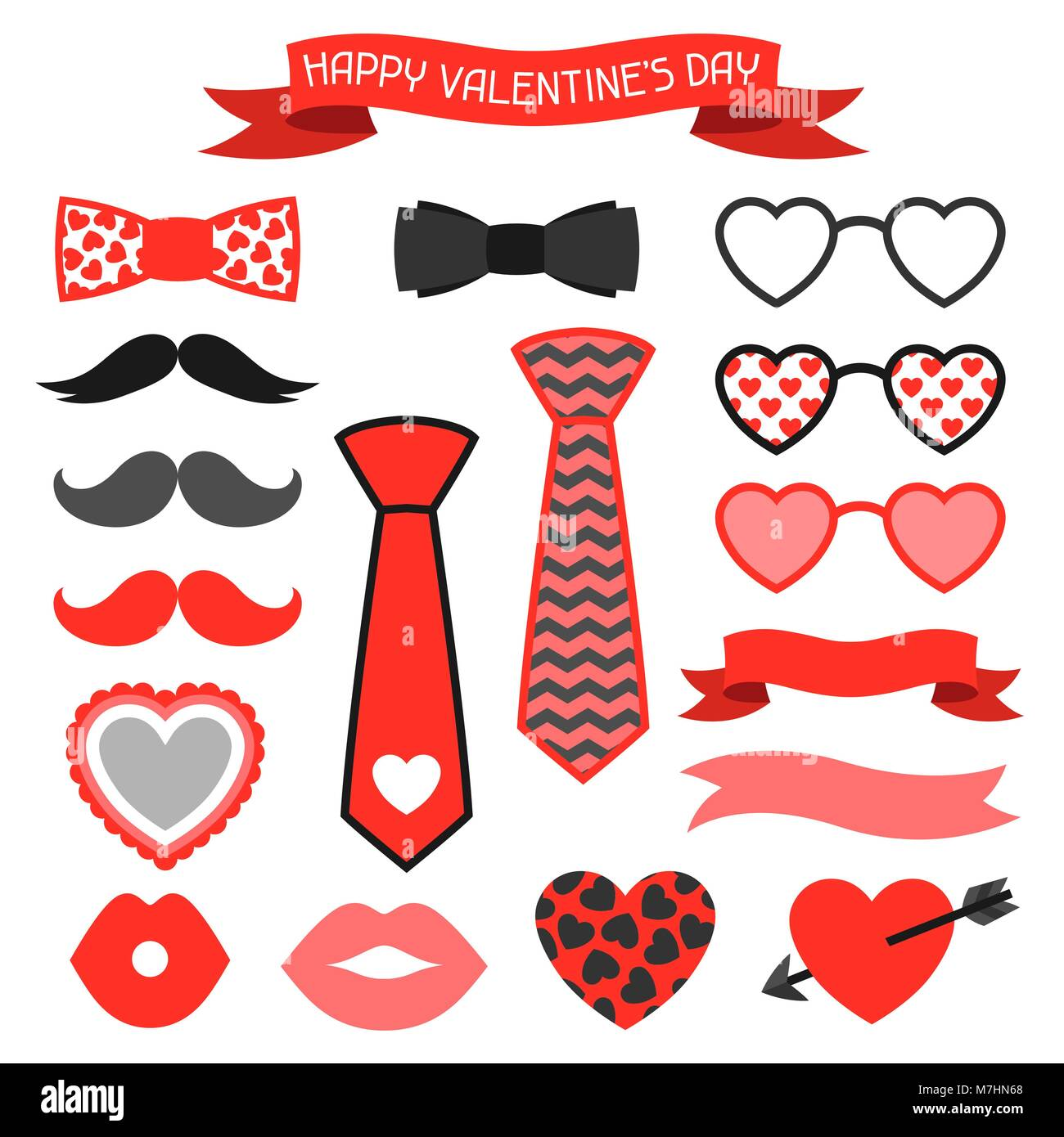 Happy Valentines Day Icons Set Hipster Objects And Love Holiday