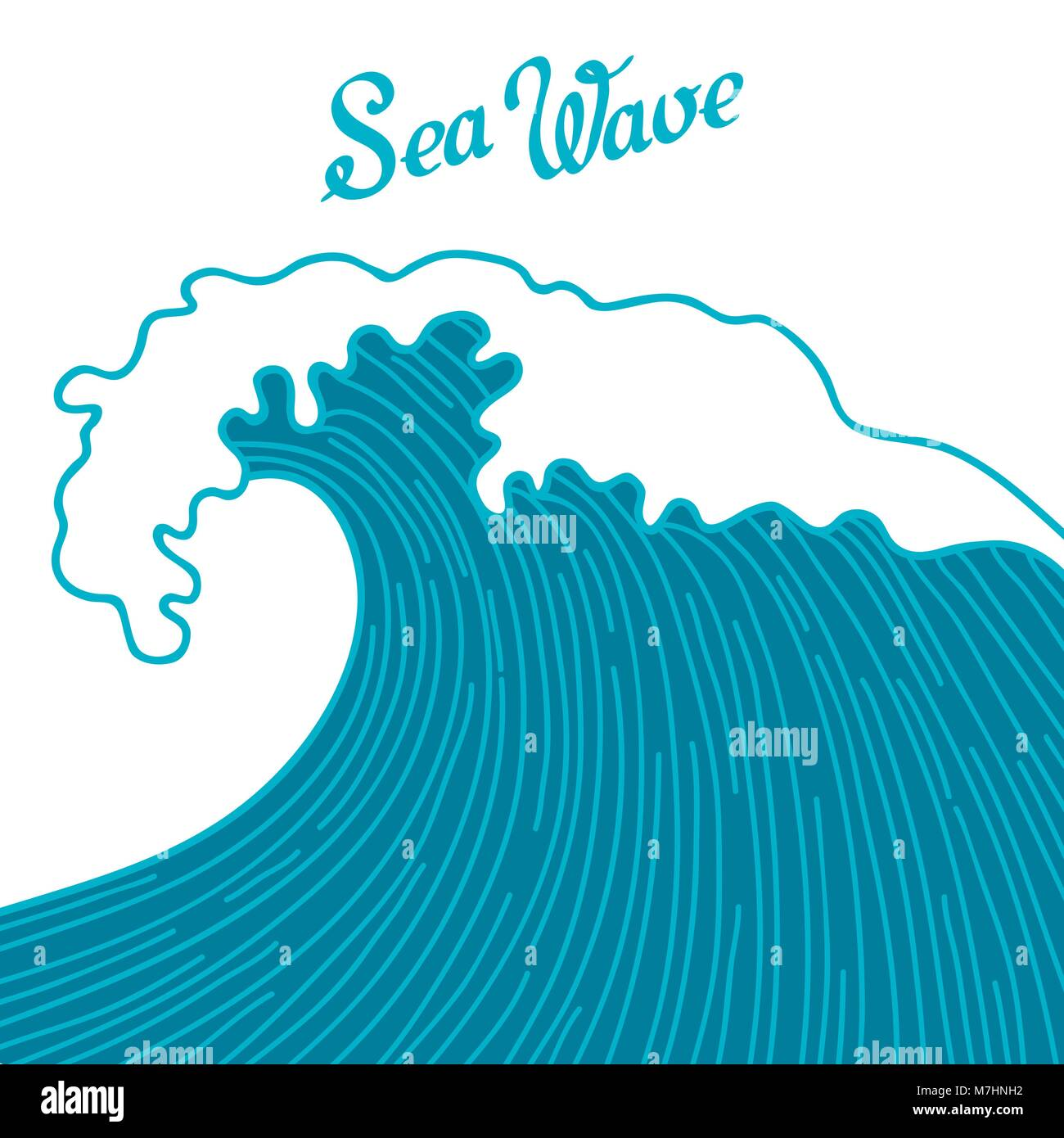 sea background with abstract hand drawn waves template for stock