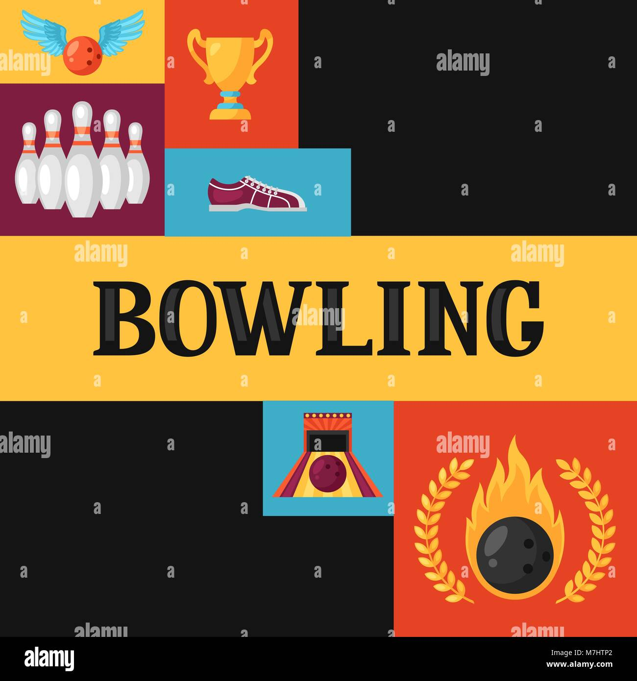 background with bowling items image for advertising booklets stock