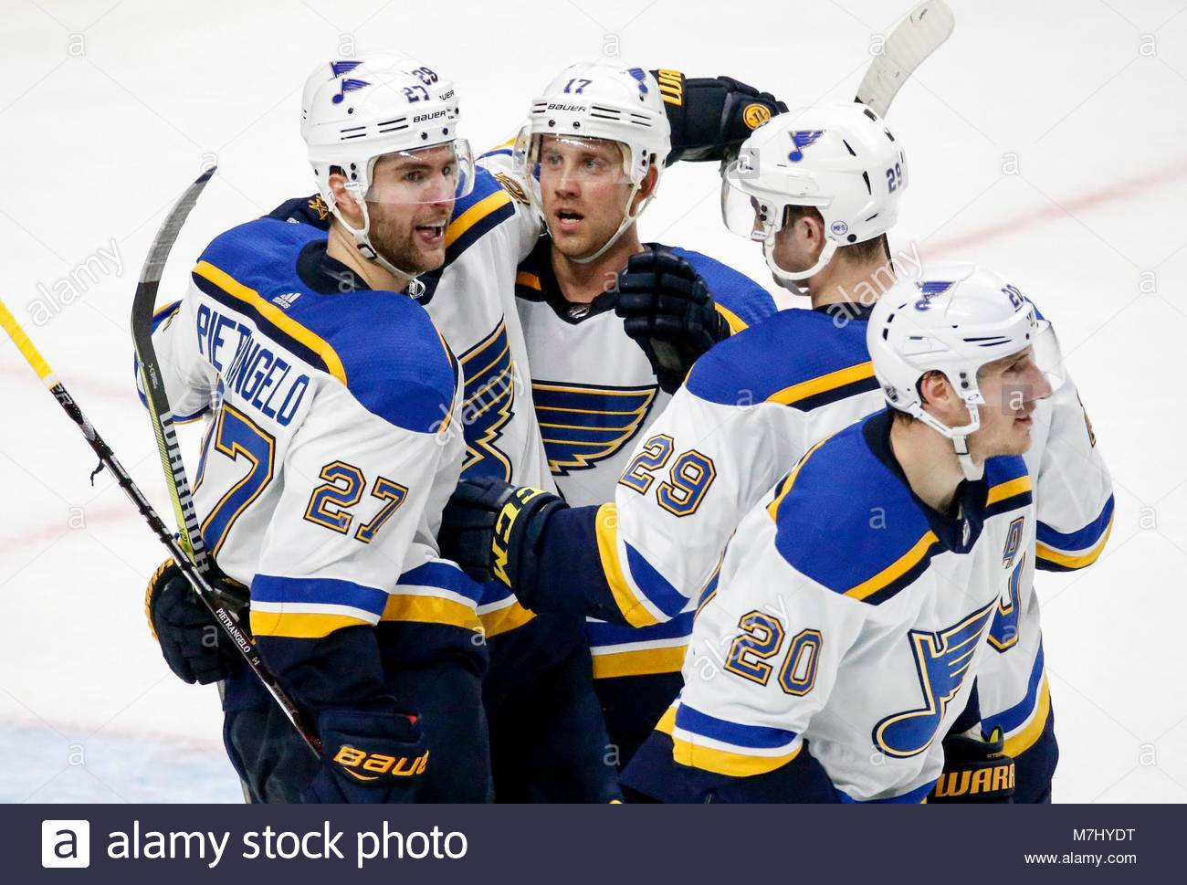 St Louis Blues Players Celebrate Their Goal Against Los Angeles Kings During A 2017 2018 NHL Hockey Game In The United States On March 10