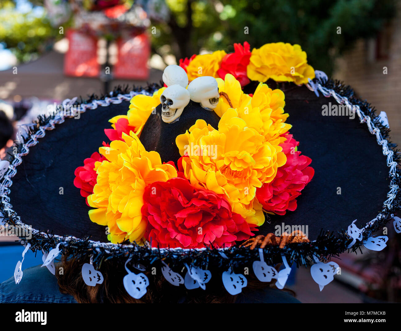 Sombrero decorated with paper mache flowers and skulls fro dia de sombrero decorated with paper mache flowers and skulls fro dia de los muertosday od the dead mightylinksfo