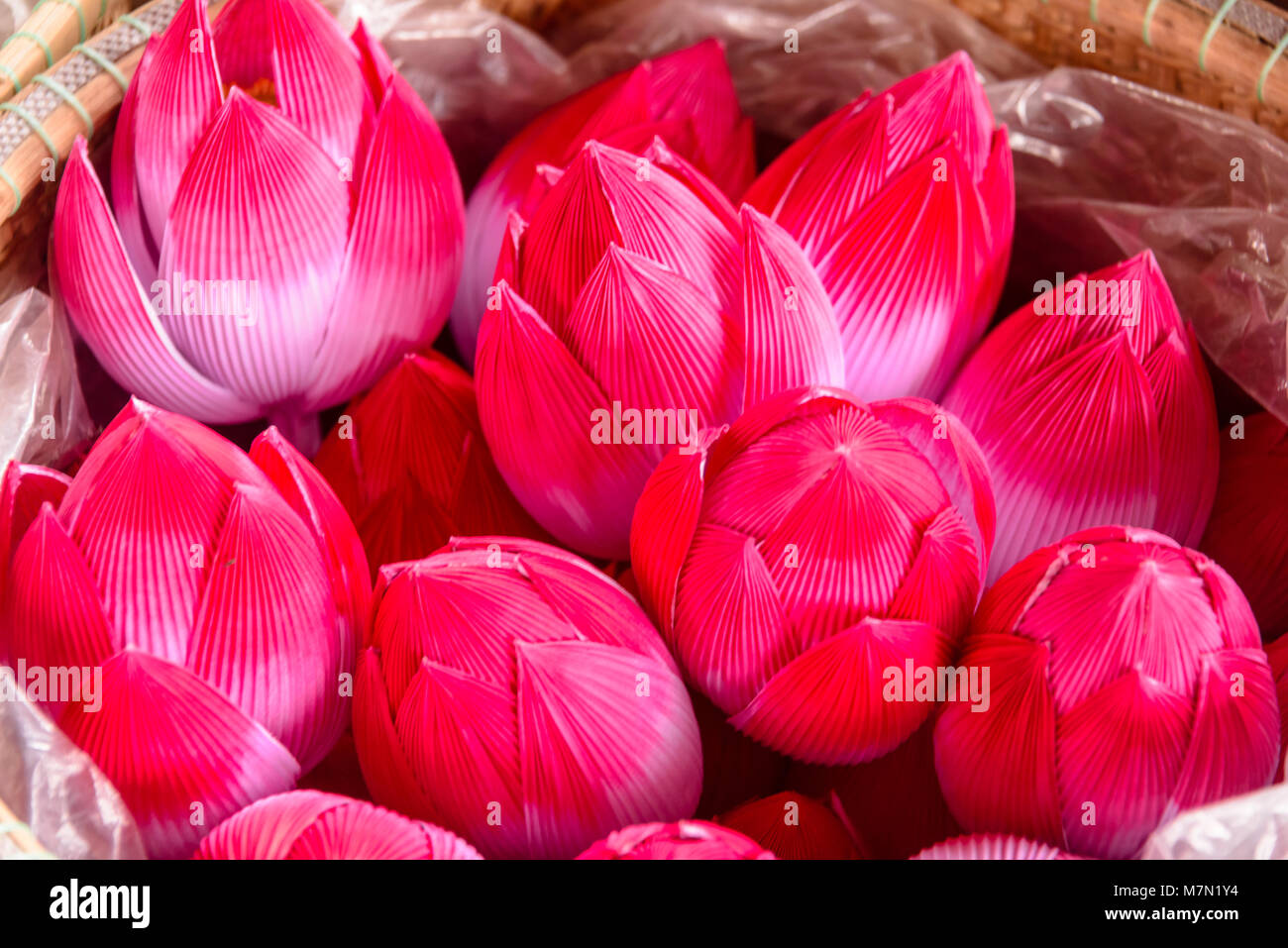 Paper Lotus Flowers In A Basket For Sale In Hue Vietnam Stock Photo