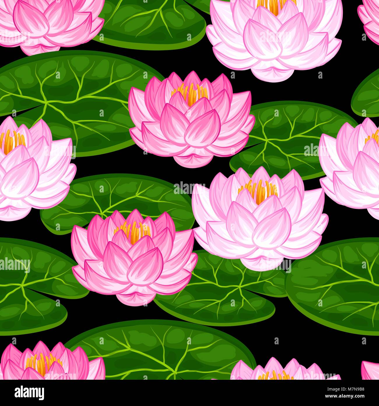 Natural seamless pattern with lotus flowers and leaves background natural seamless pattern with lotus flowers and leaves background made without clipping mask easy to use for backdrop textile wrapping paper izmirmasajfo