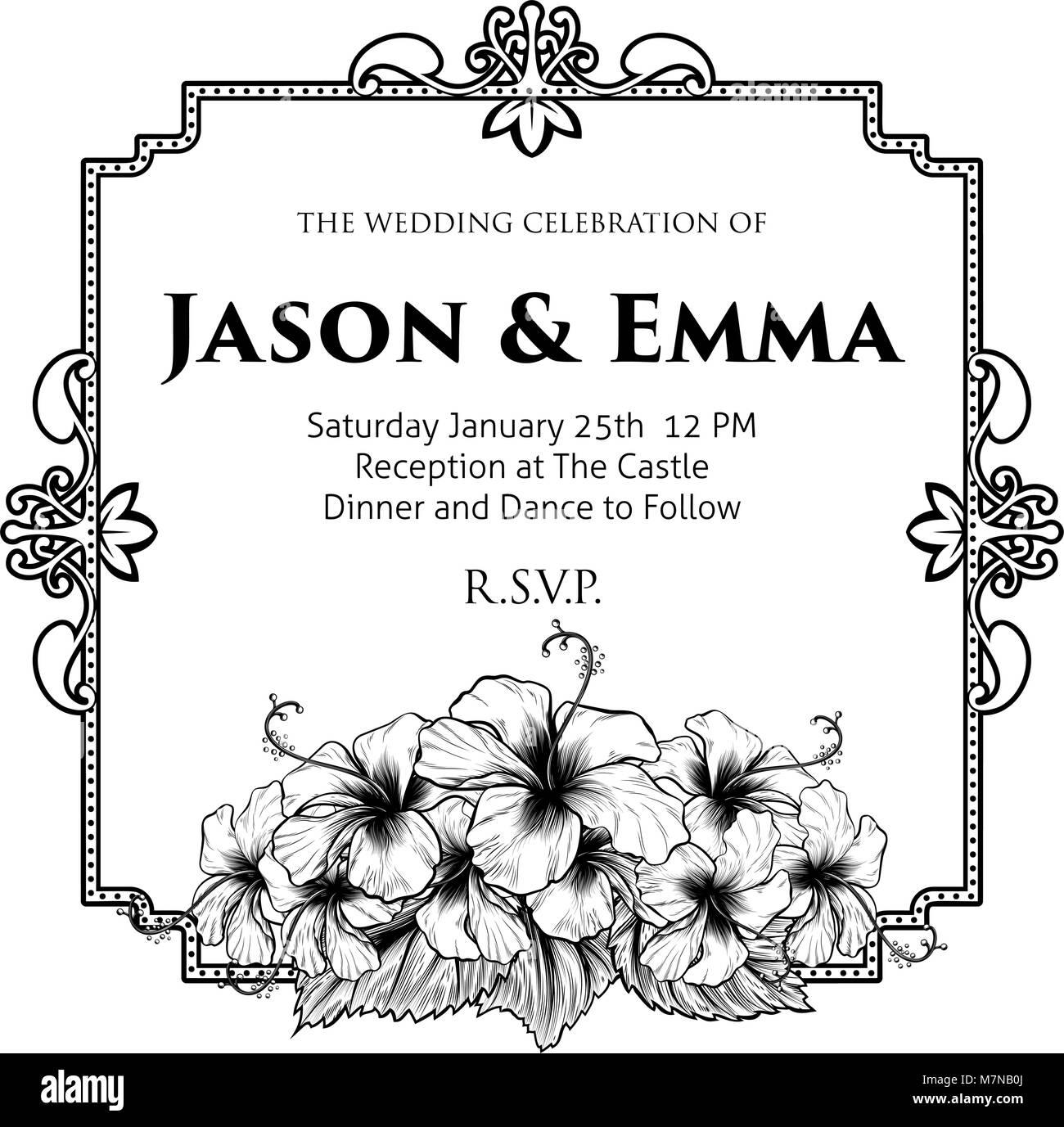 Hibiscus flowers wedding invitation template stock vector art hibiscus flowers wedding invitation template izmirmasajfo