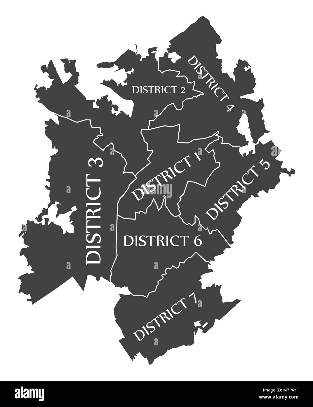 Charlotte North Carolina city map USA labelled black illustration ...