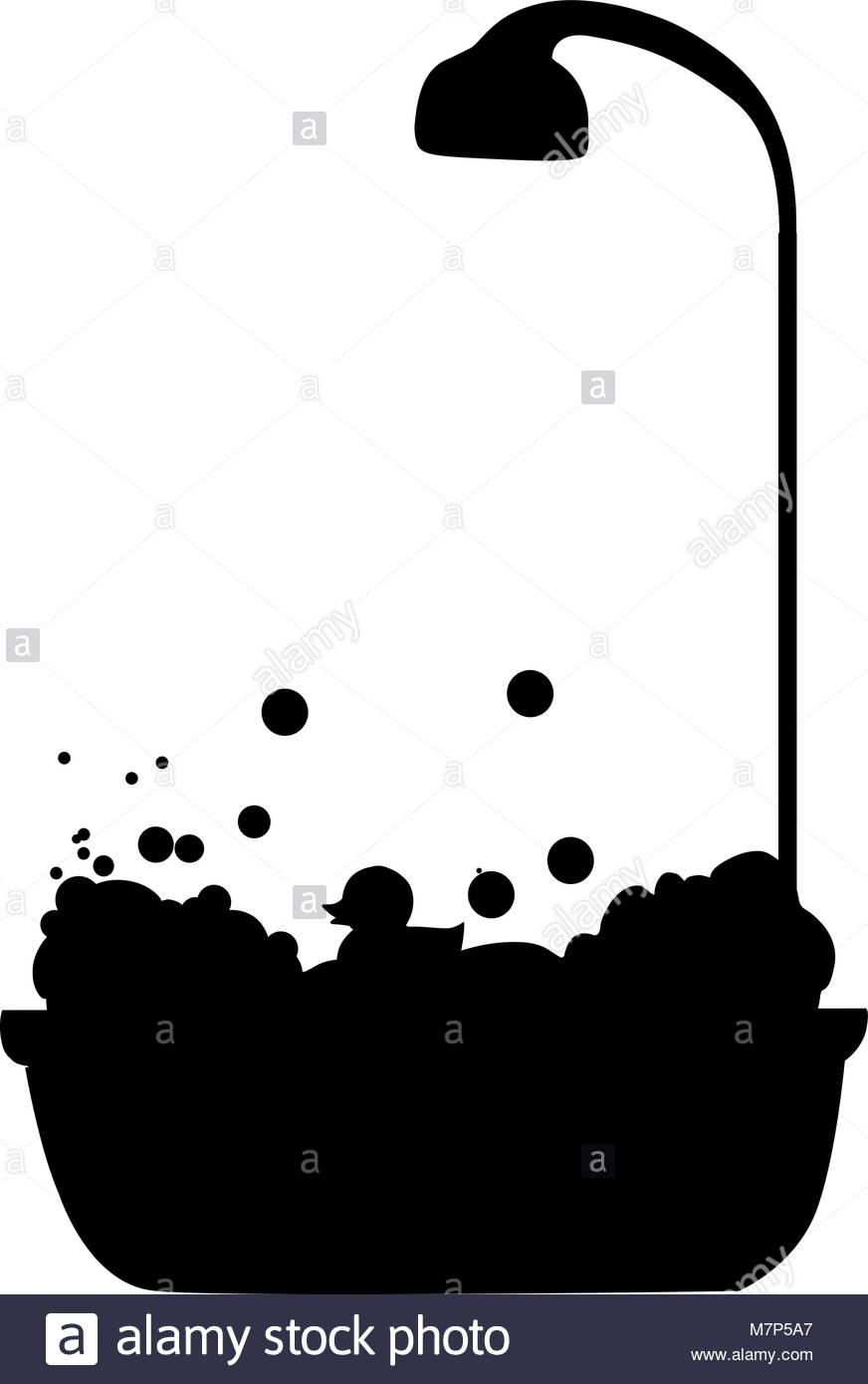 shower head clip art. Black Silhouette Of Bathtub With Shower Head Full Bubble Foam And Bath Rubber Duck Icon Isolated On White Background. Time Vector Illustratio Clip Art