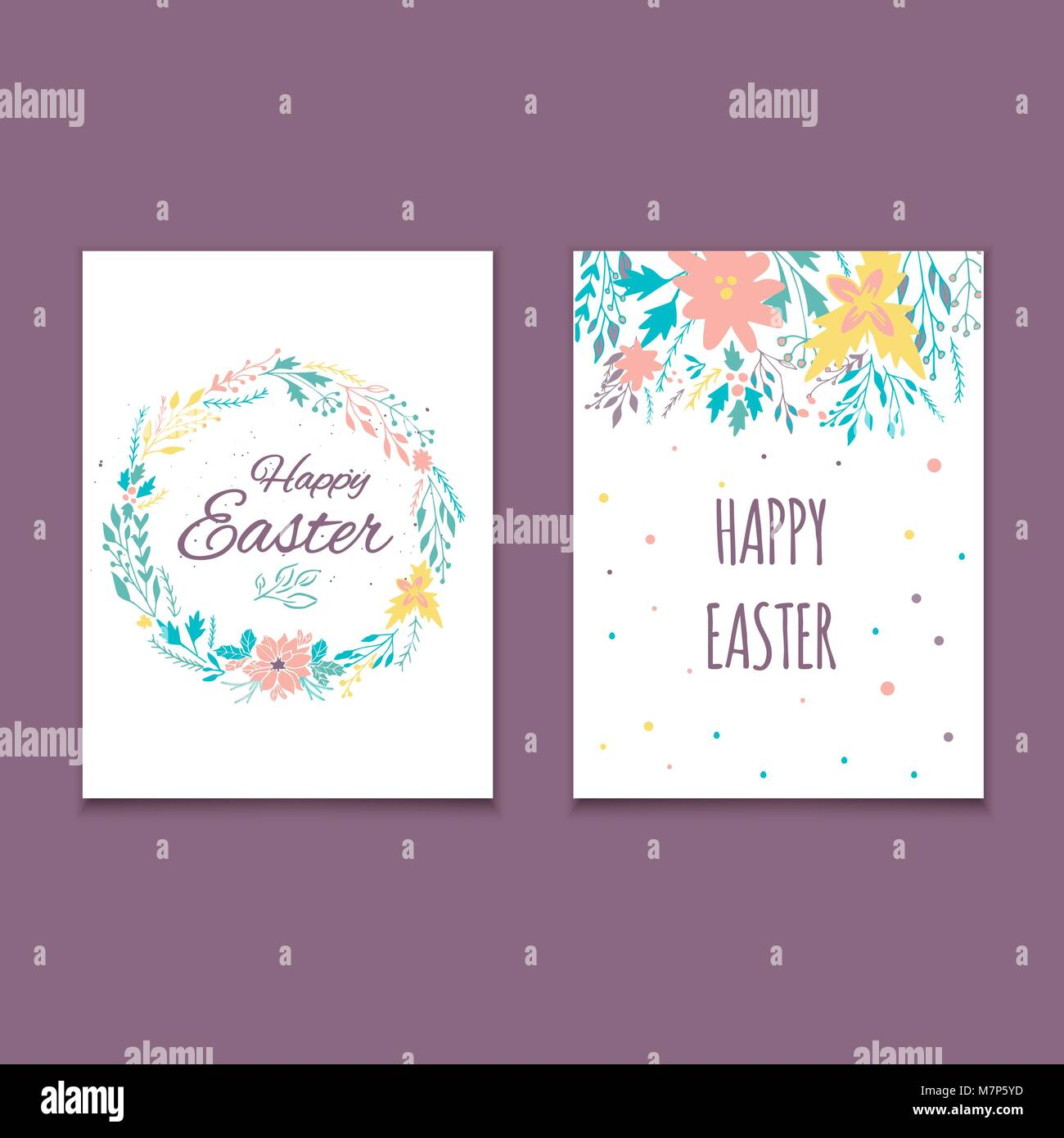 Easter Postcard Template Hand Drawn Illustration Modern Or Invitation For Holliday