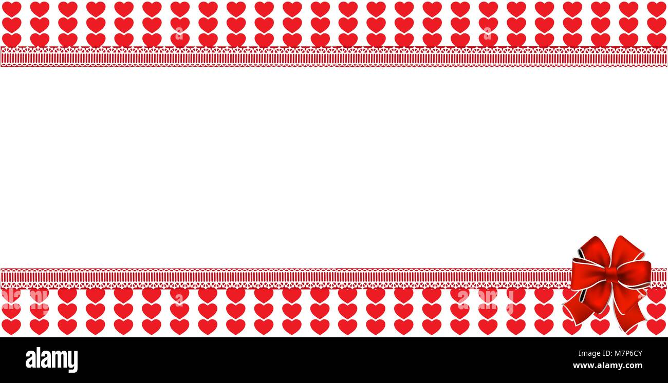 Love template with space for text and festive bow on red and white ...