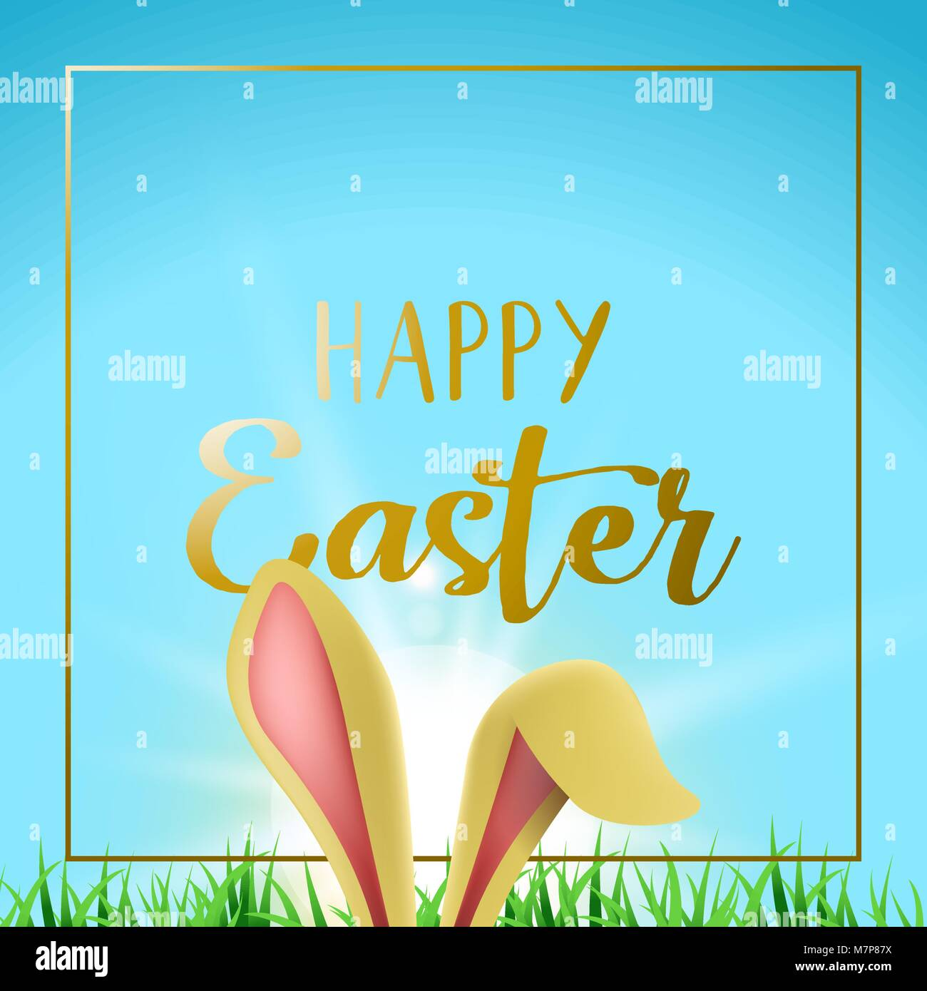 Easter bunny holiday greeting card illustration rabbit ears hiding easter bunny holiday greeting card illustration rabbit ears hiding behind grass with happy celebration message and frame in gold color eps10 vector m4hsunfo