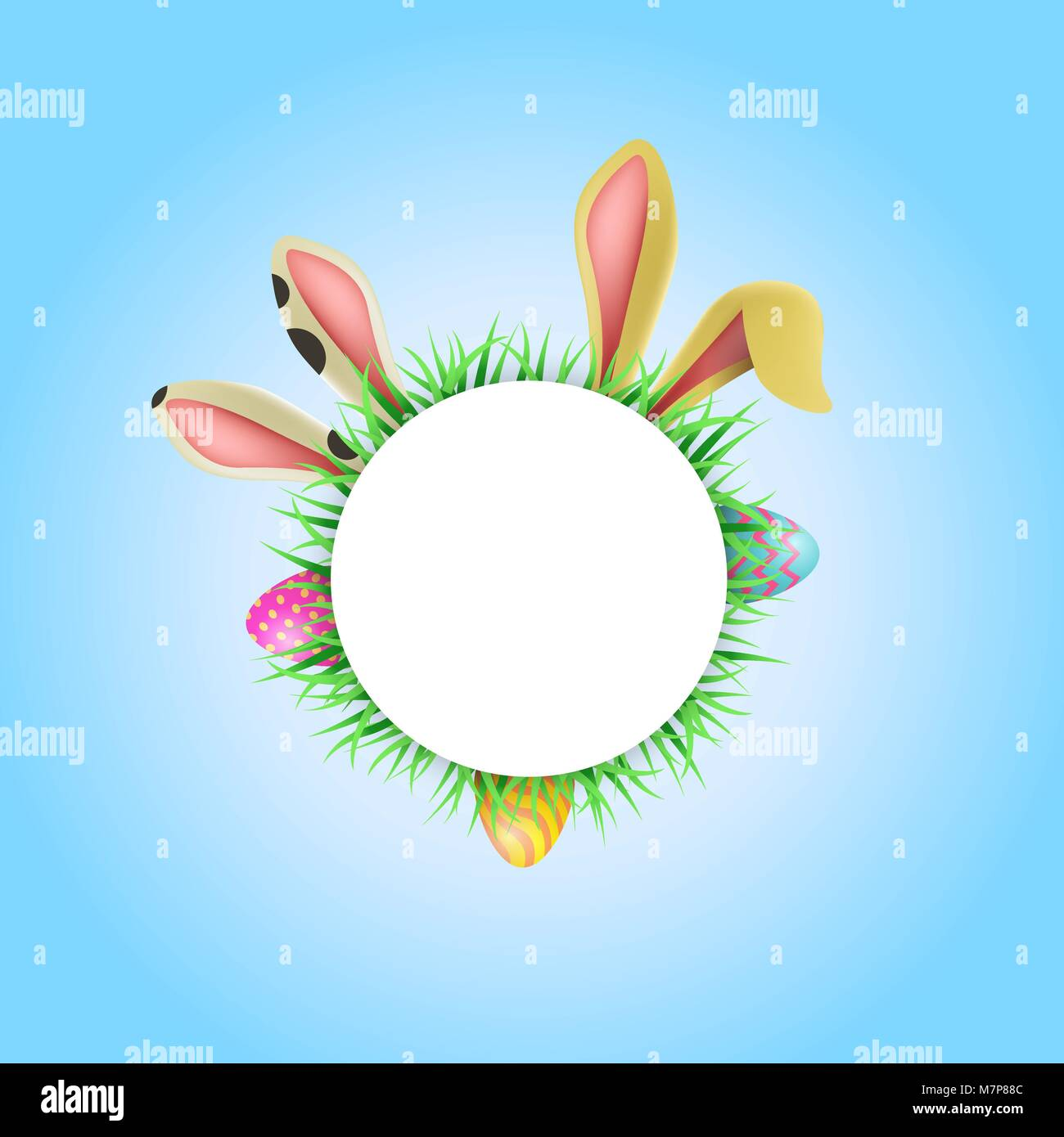 happy easter holiday illustration template empty circle label with