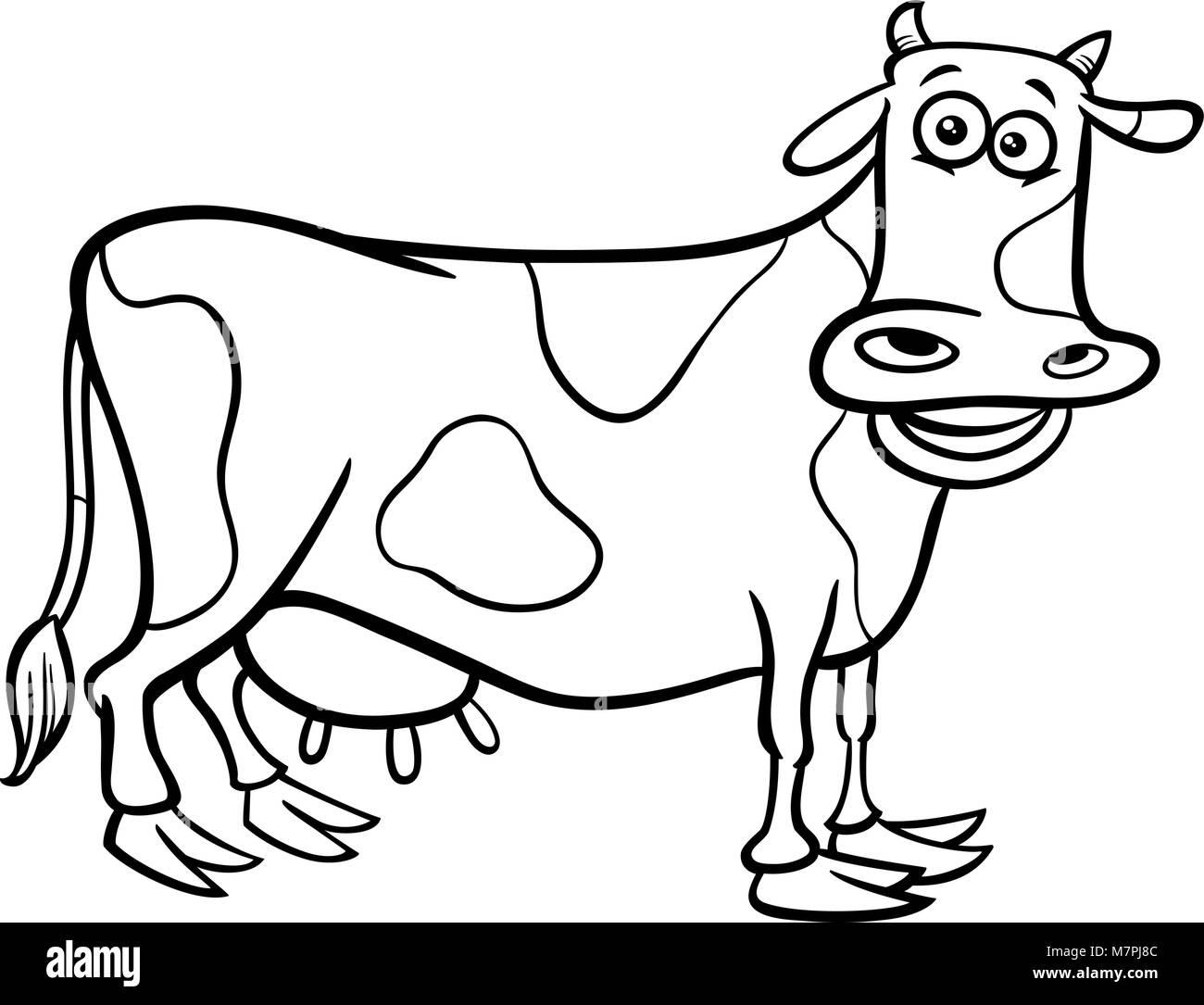 Black and White Cartoon Illustration of Milker Cow Farm Animal Stock ...