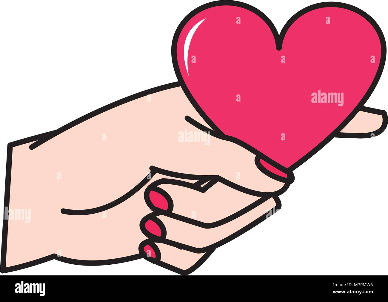 Woman Hand With Heart Symbol Of Passion Stock Vector Art