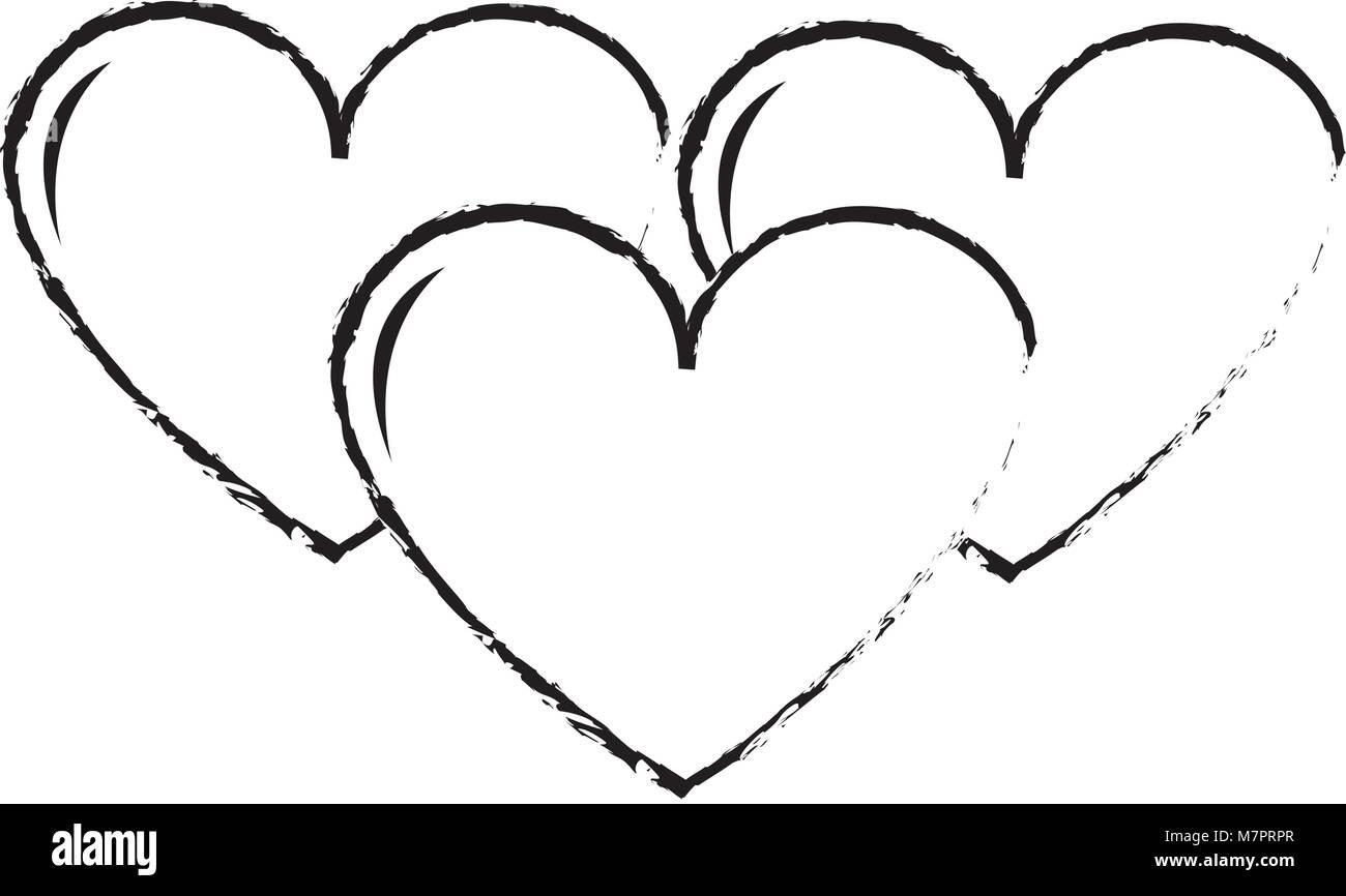 Grunge Hearts Love Symbol Of Passion Design Icon Stock Vector Art