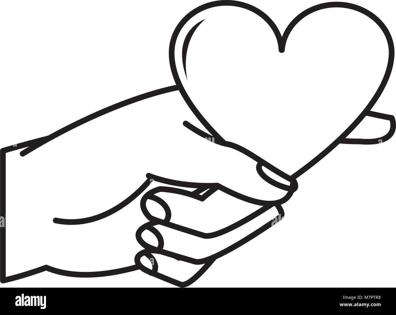 Line Woman Hand With Heart Symbol Of Passion Stock Vector Art