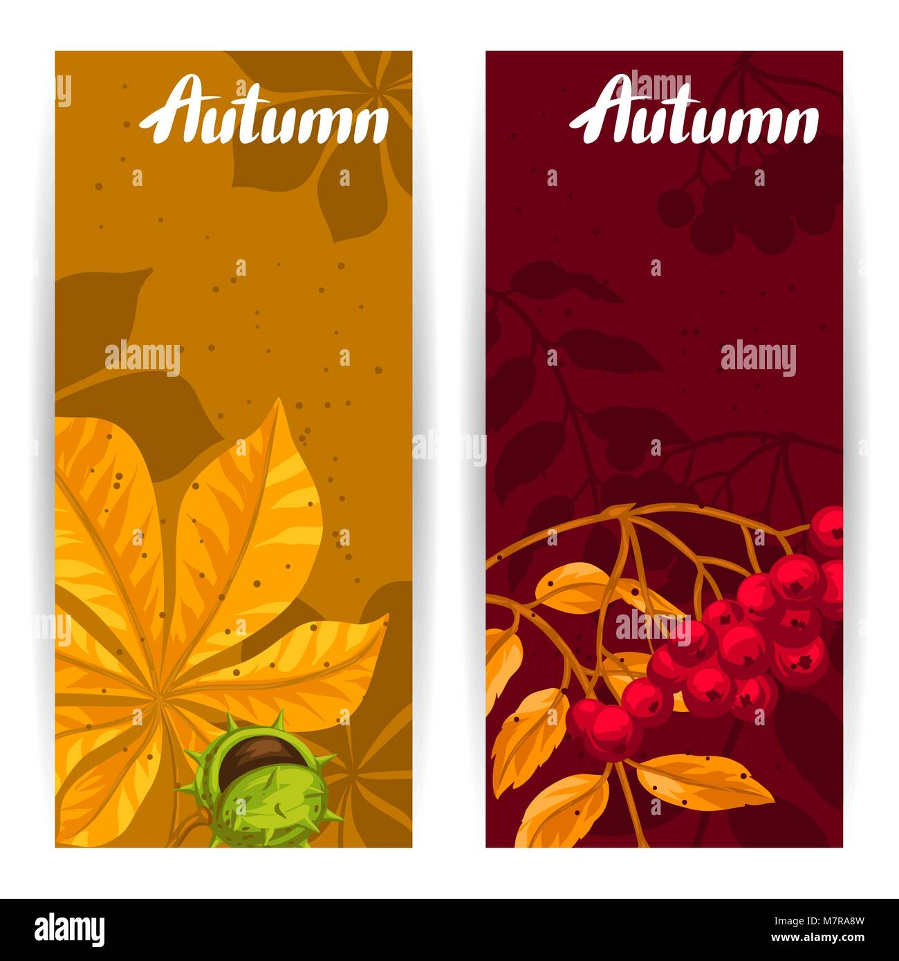 banners with autumn leaves and plants design for advertising stock