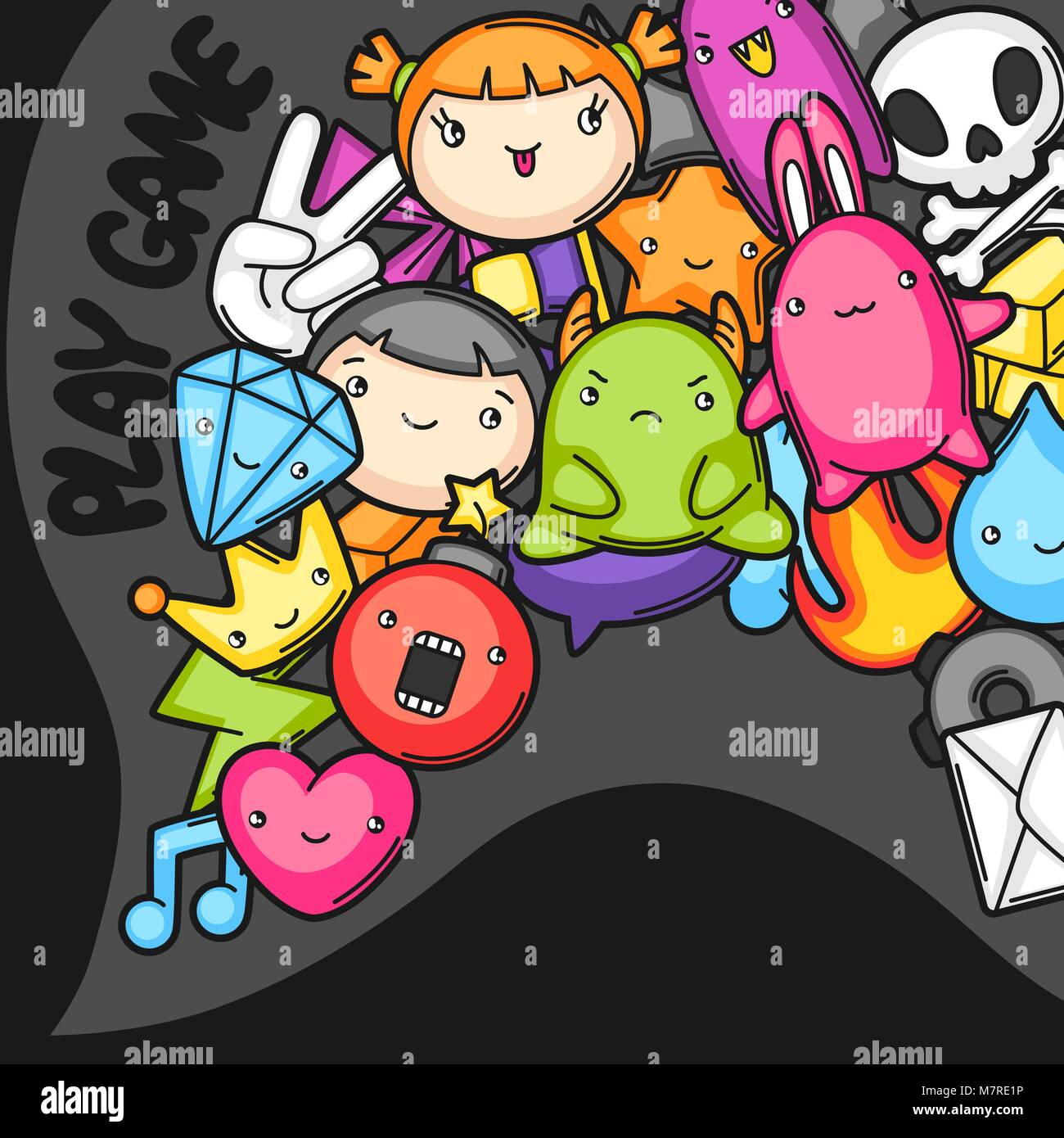 Game Kawaii Background Cute Gaming Design Elements Objects And