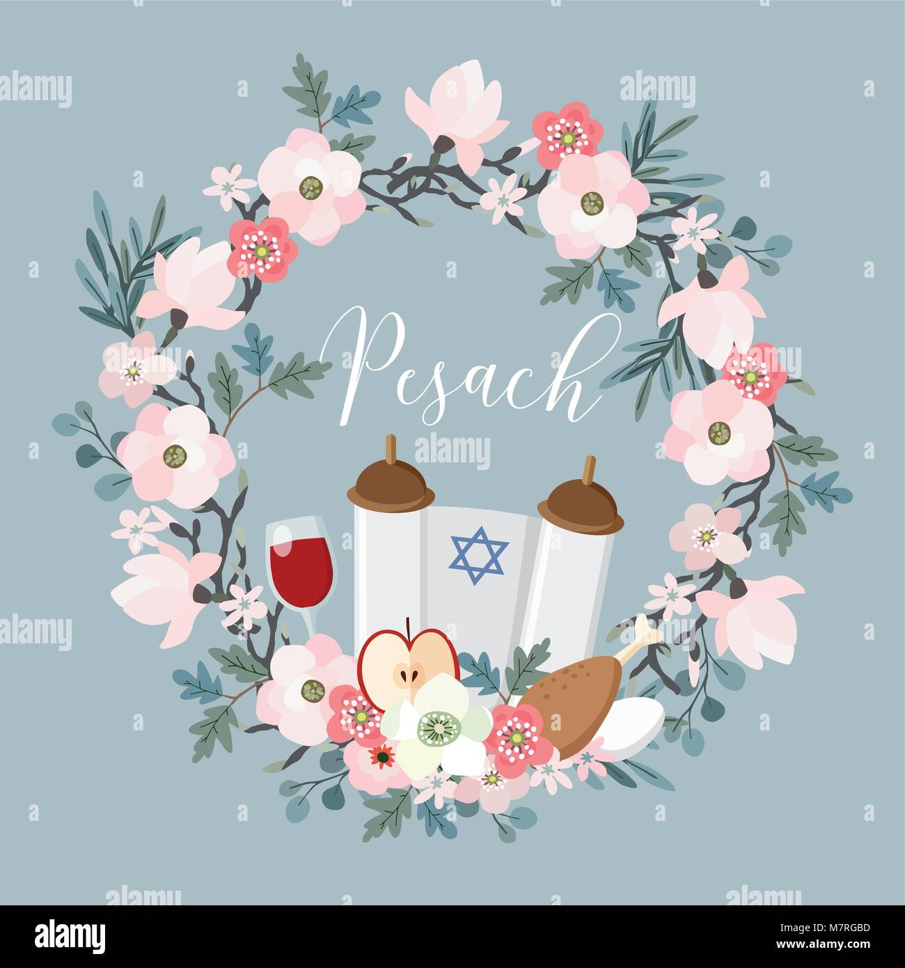 Pesach passover greeting card hand drawn floral wreath with torah pesach passover greeting card hand drawn floral wreath with torah jewish star egg apple glass of wine olive branches and flowers m4hsunfo