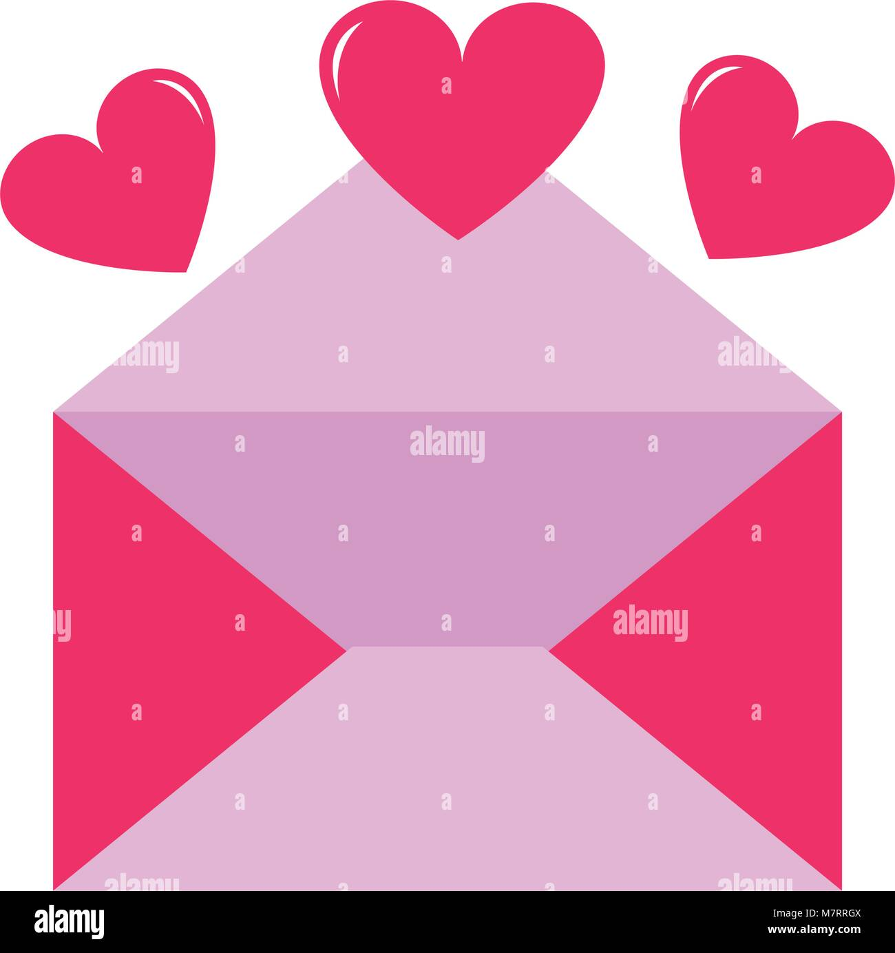 colorful open card letter with hearts design Stock Vector Art ...