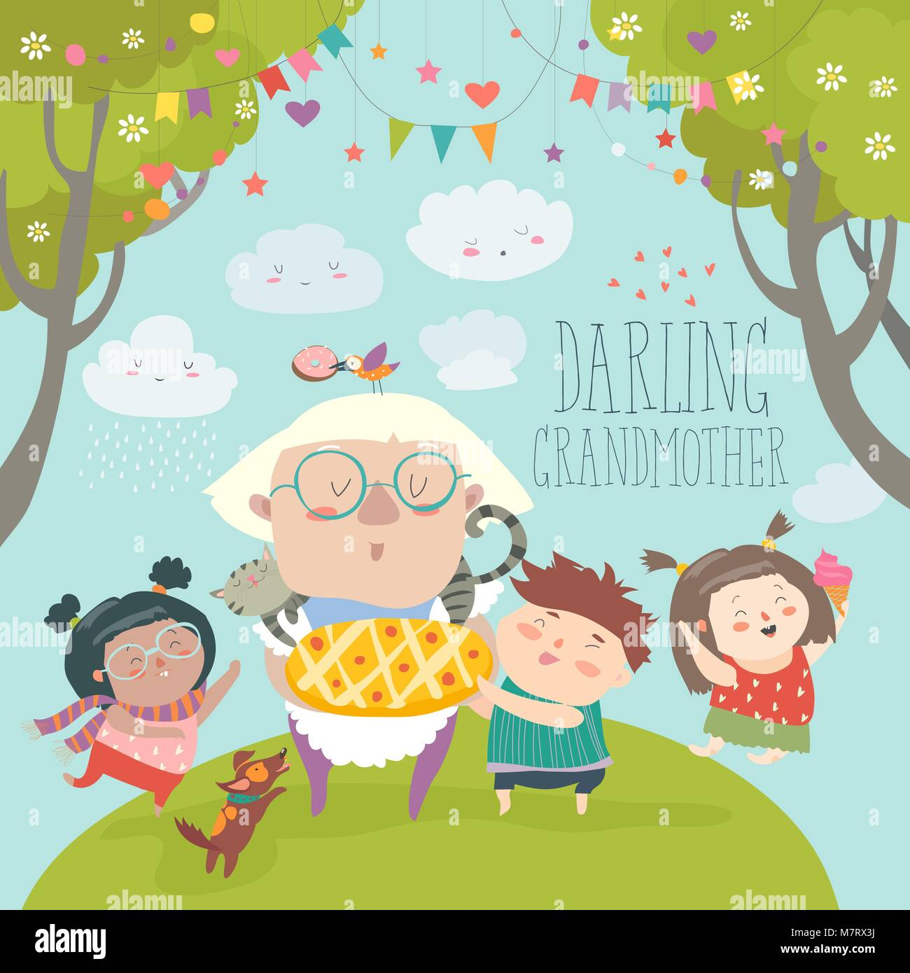 Granny and her grandchildren with cake Stock Vector Art ...