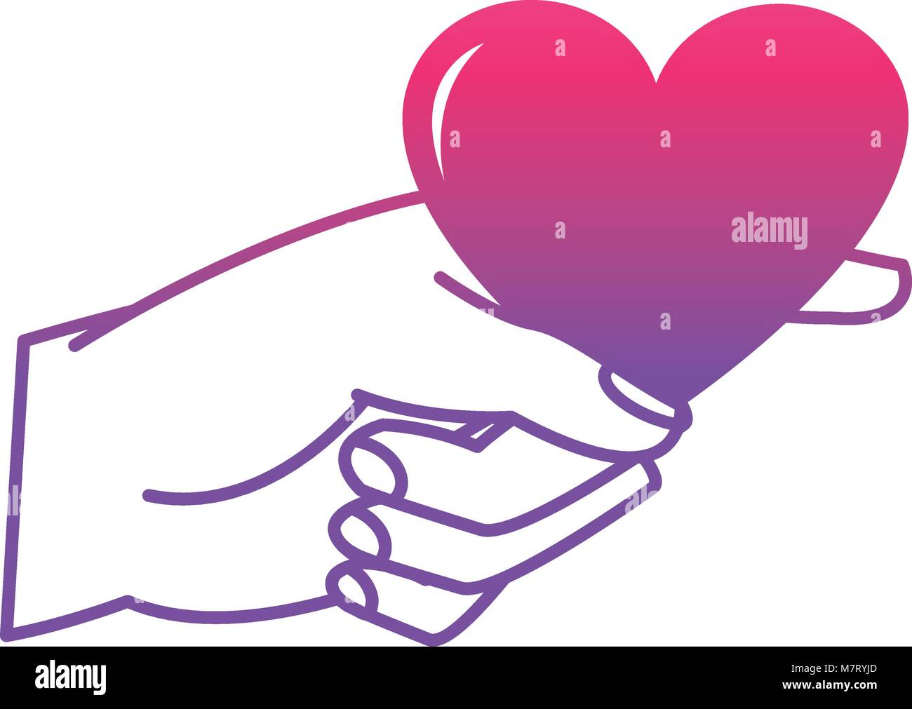 Degraded Line Woman Hand With Heart Symbol Of Passion Stock Vector