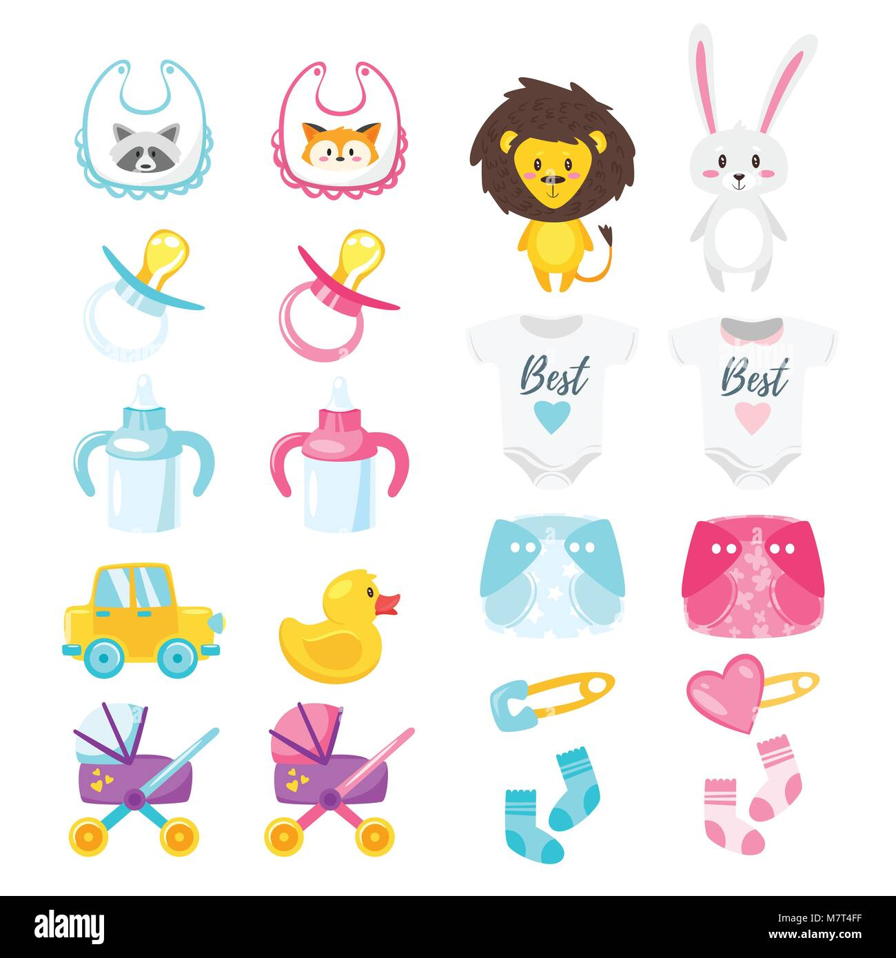 Vector cartoon style illustration of baby shower set of symbols vector cartoon style illustration of baby shower set of symbols for boy and girl newborn design elements and icons isolated on white background biocorpaavc Images
