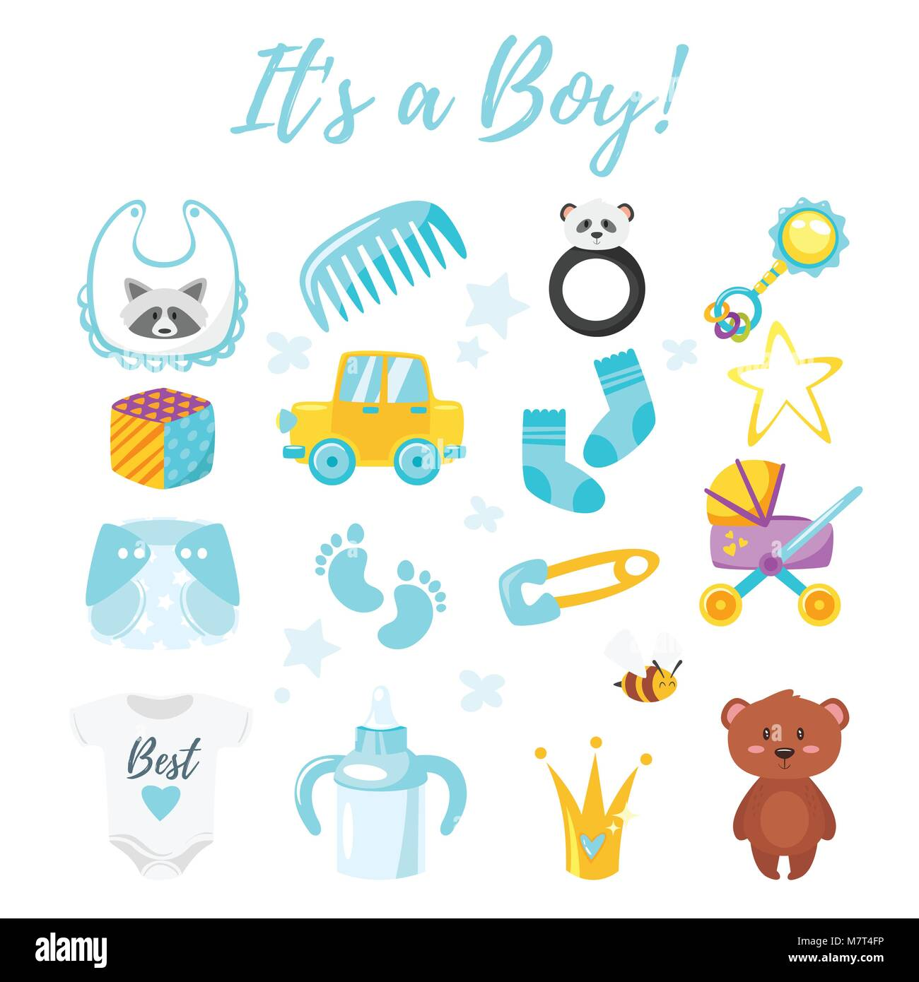 Vector cartoon style illustration of baby shower set of symbols vector cartoon style illustration of baby shower set of symbols for boy newborn design elements biocorpaavc Images