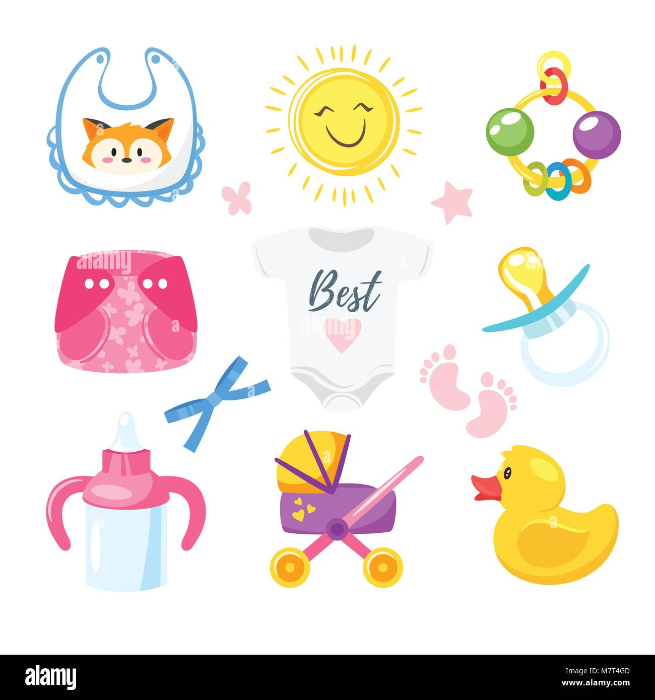 Arrival symbols stock photos arrival symbols stock images alamy vector cartoon style illustration of baby shower set of symbols for boy and girl newborn buycottarizona