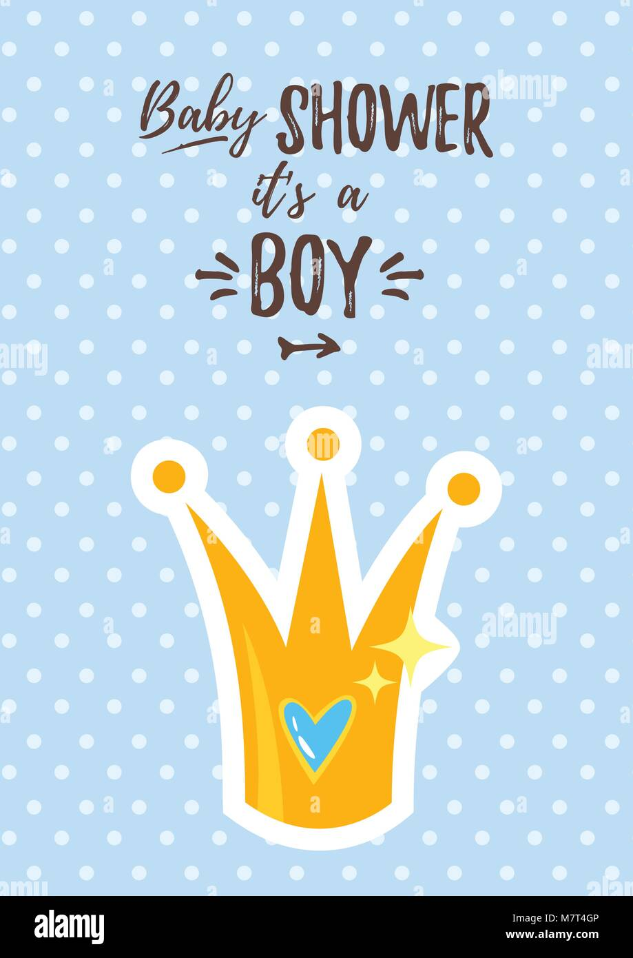 Vector cartoon style illustration of baby shower invitation baby vector cartoon style illustration of baby shower invitation baby boy celebration greeting card template golden prince crown with heart inside on blu filmwisefo