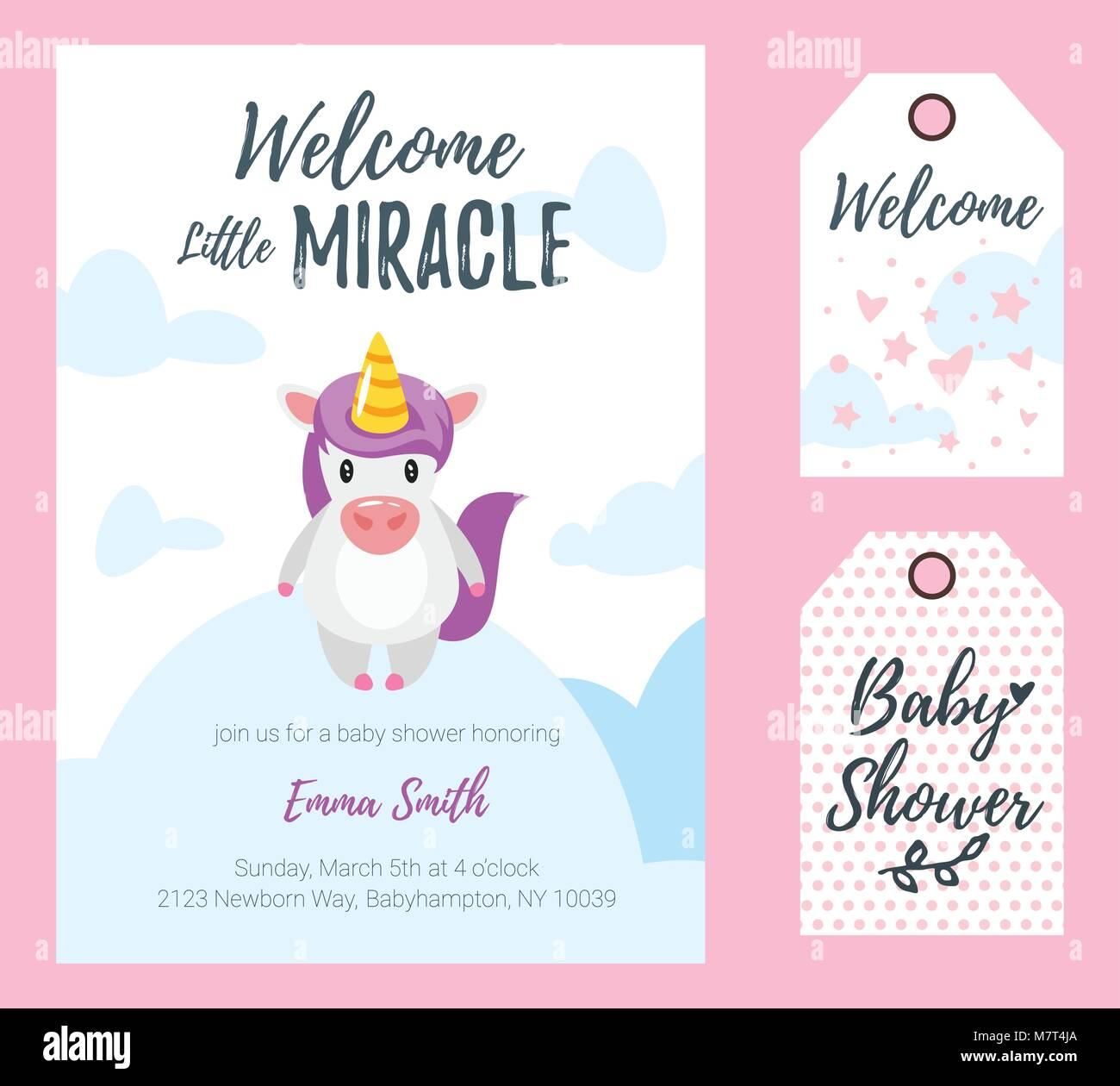 Vector cartoon style illustration of baby shower invitation stock vector cartoon style illustration of baby shower invitation celebration greeting card and tags template cute unicorn standing on cloud welcome litt kristyandbryce Image collections